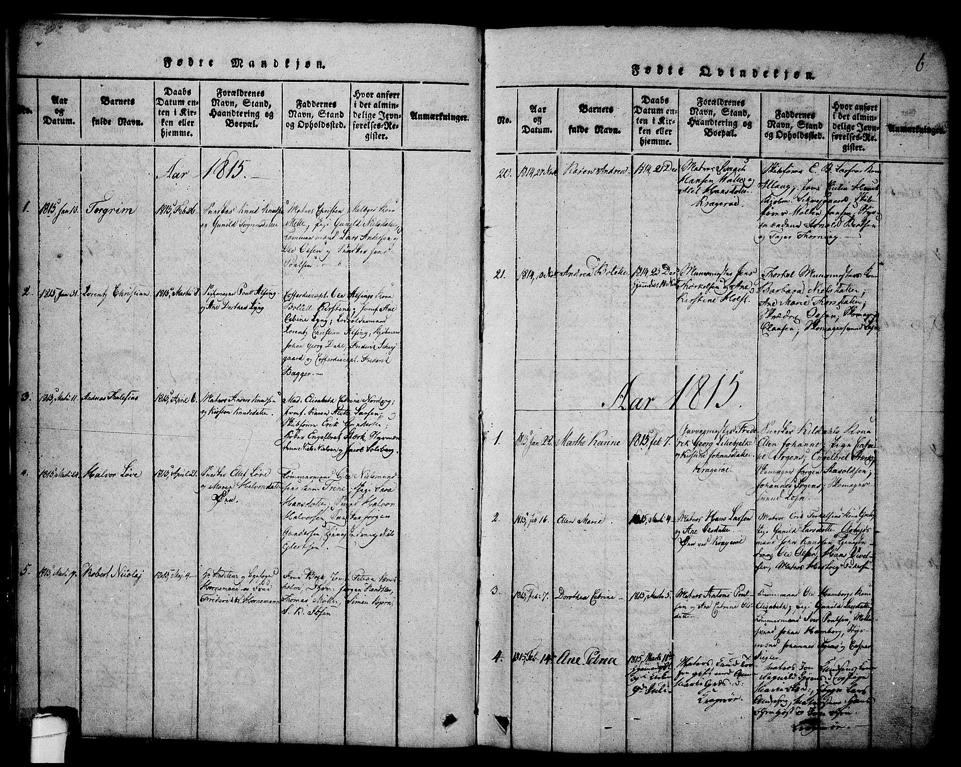 SAKO, Kragerø kirkebøker, G/Ga/L0002: Parish register (copy) no. 2, 1814-1831, p. 6