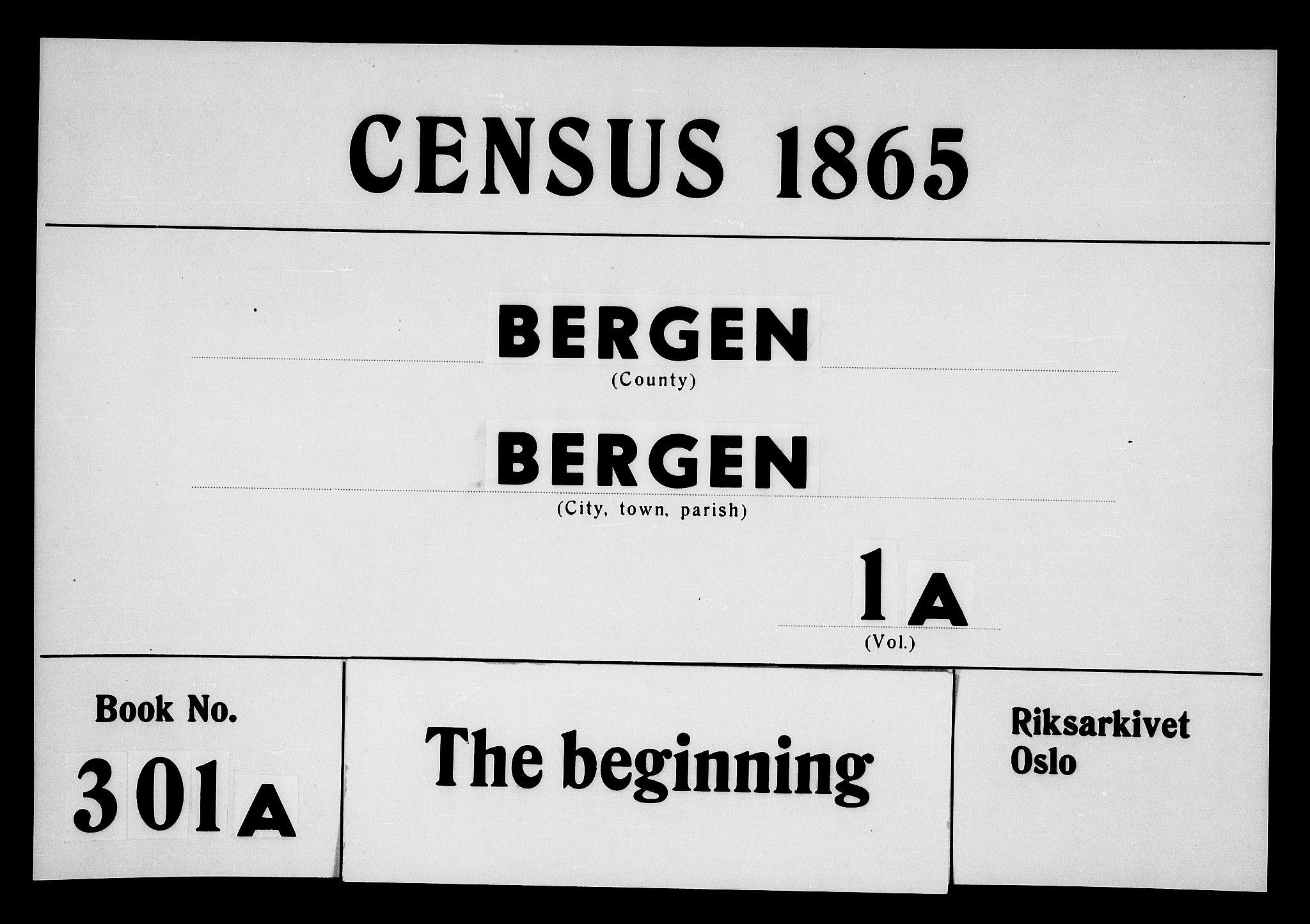 RA, 1865 census for Bergen, 1865, p. 1