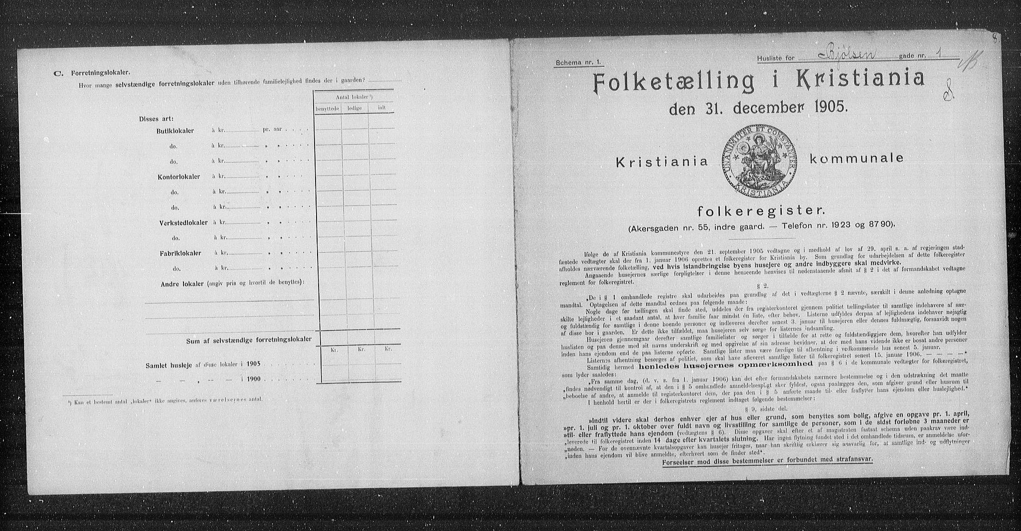 OBA, Municipal Census 1905 for Kristiania, 1905, p. 3235