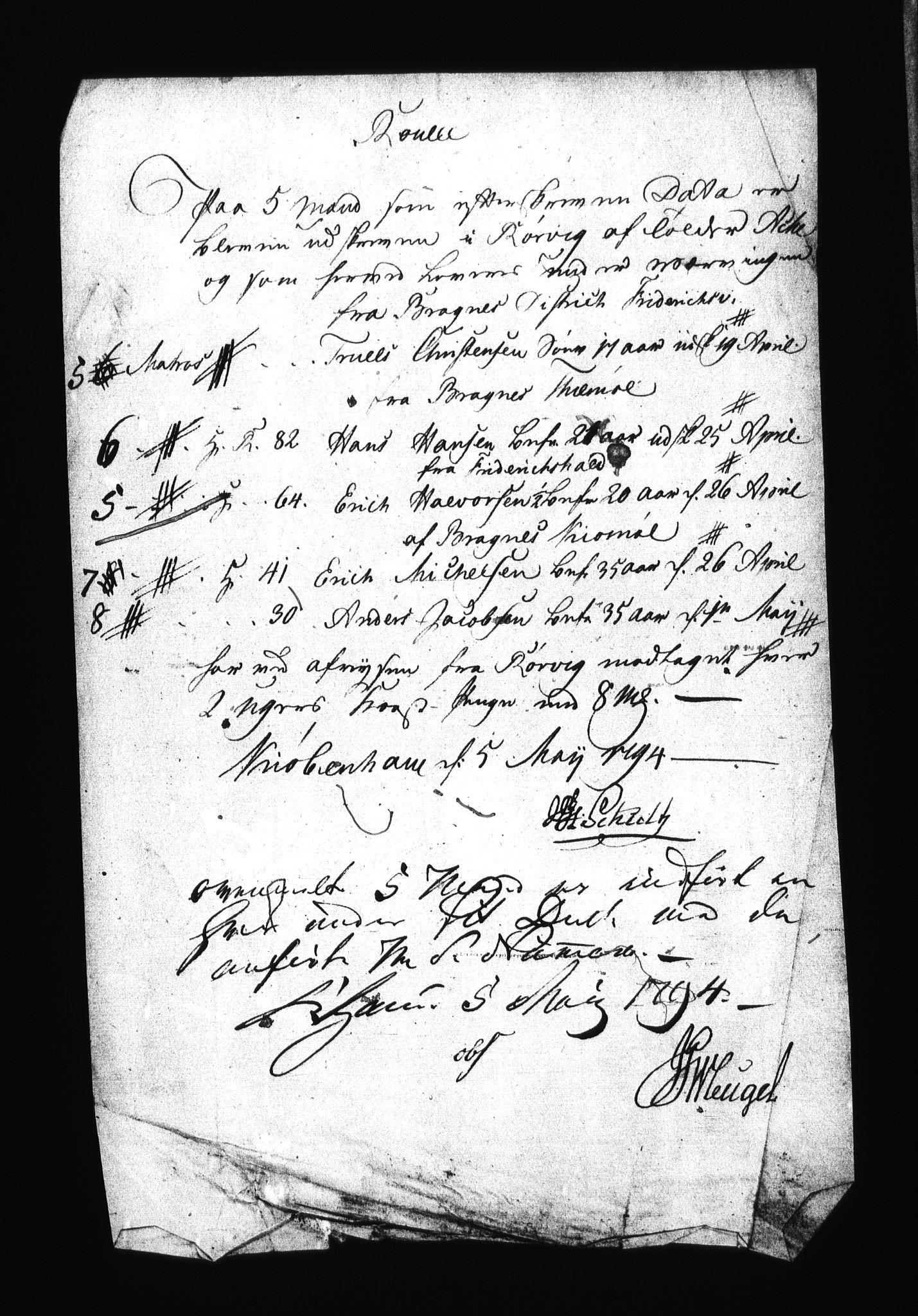 RA, Sjøetaten, F/L0018: Kristiansand distrikt, bind 2, 1794