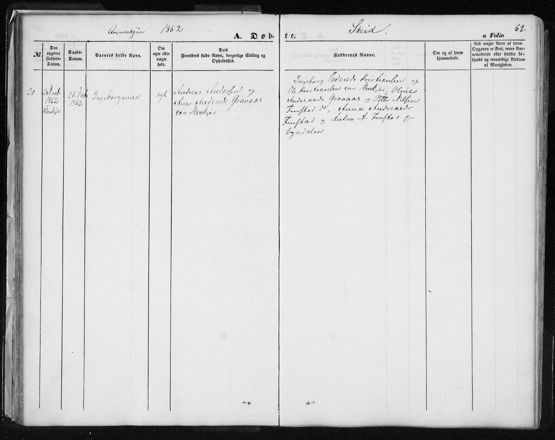 SAT, Ministerialprotokoller, klokkerbøker og fødselsregistre - Nord-Trøndelag, 735/L0342: Parish register (official) no. 735A07 /2, 1849-1862, p. 62