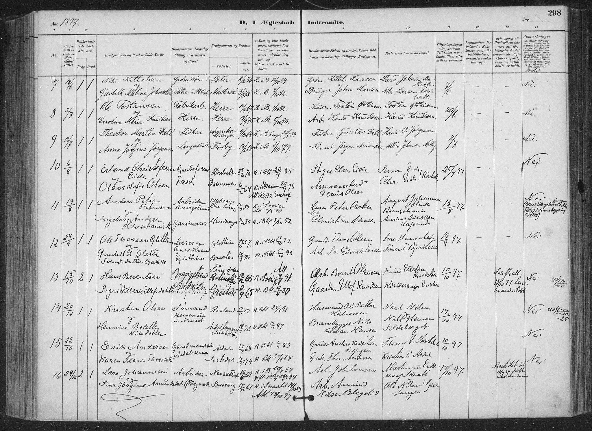 SAKO, Bamble kirkebøker, F/Fa/L0008: Parish register (official) no. I 8, 1888-1900, p. 298
