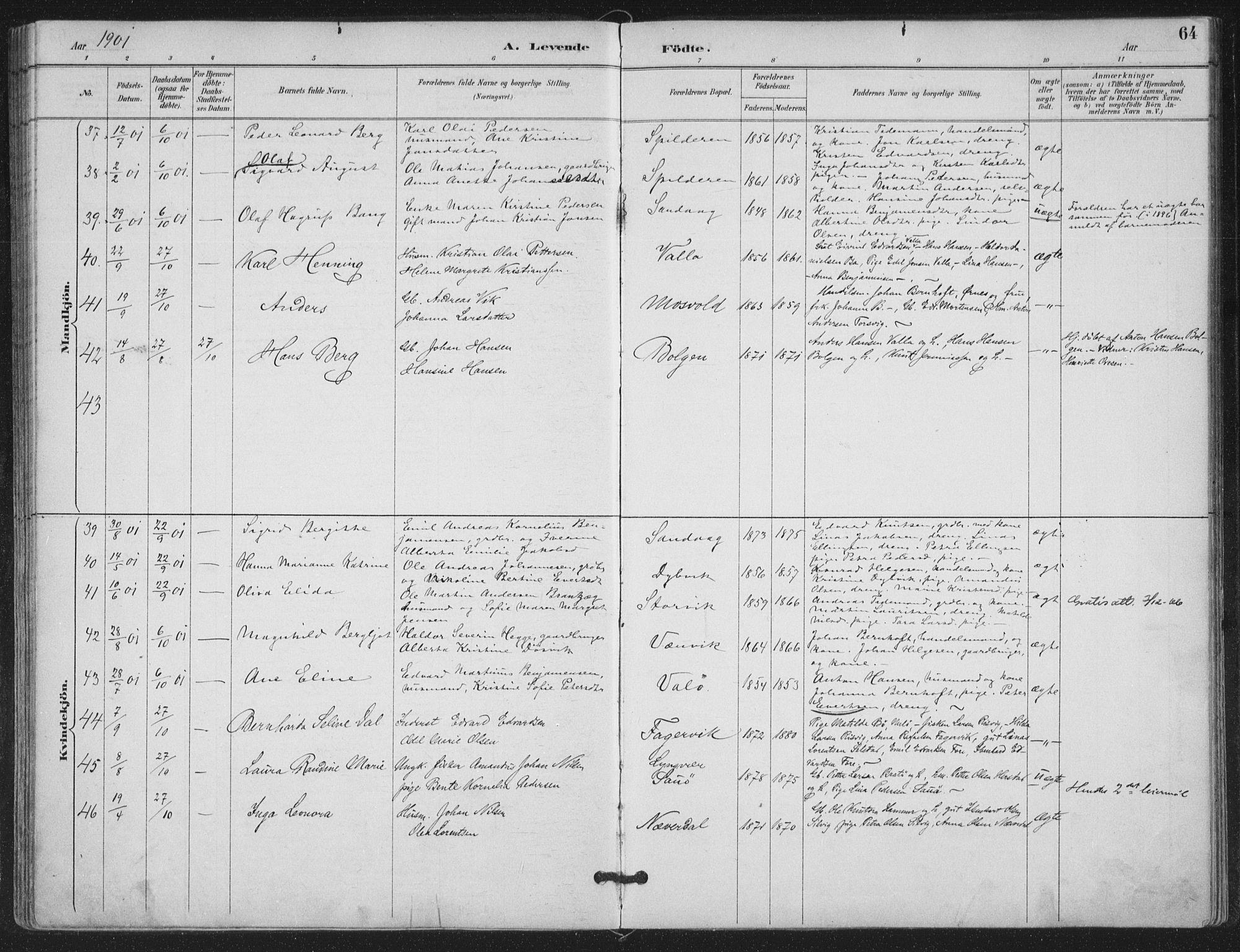 SAT, Ministerialprotokoller, klokkerbøker og fødselsregistre - Nordland, 843/L0628: Parish register (official) no. 843A03, 1889-1907, p. 64