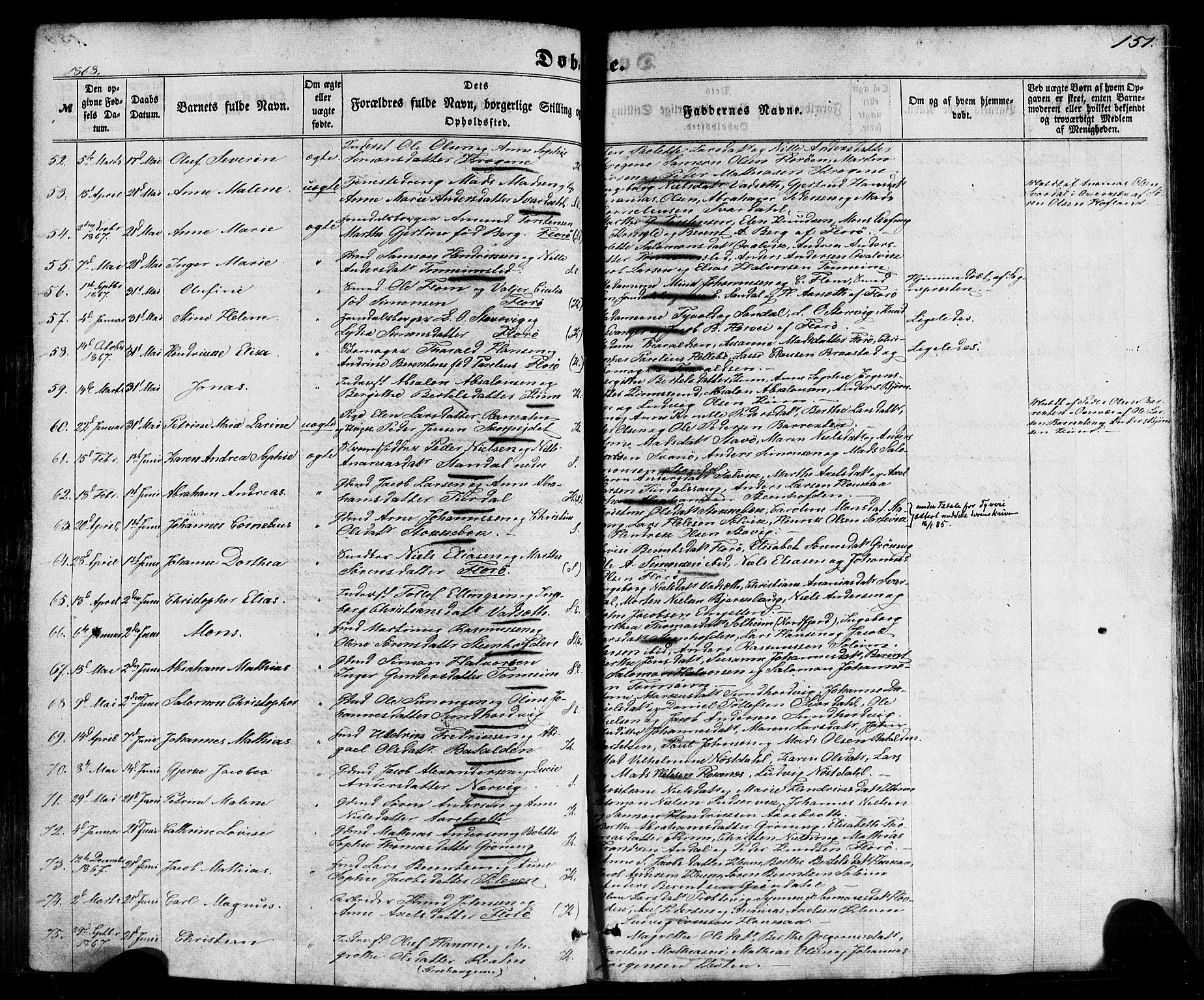 SAB, Kinn Sokneprestembete, Parish register (official) no. A 6, 1857-1885, p. 151