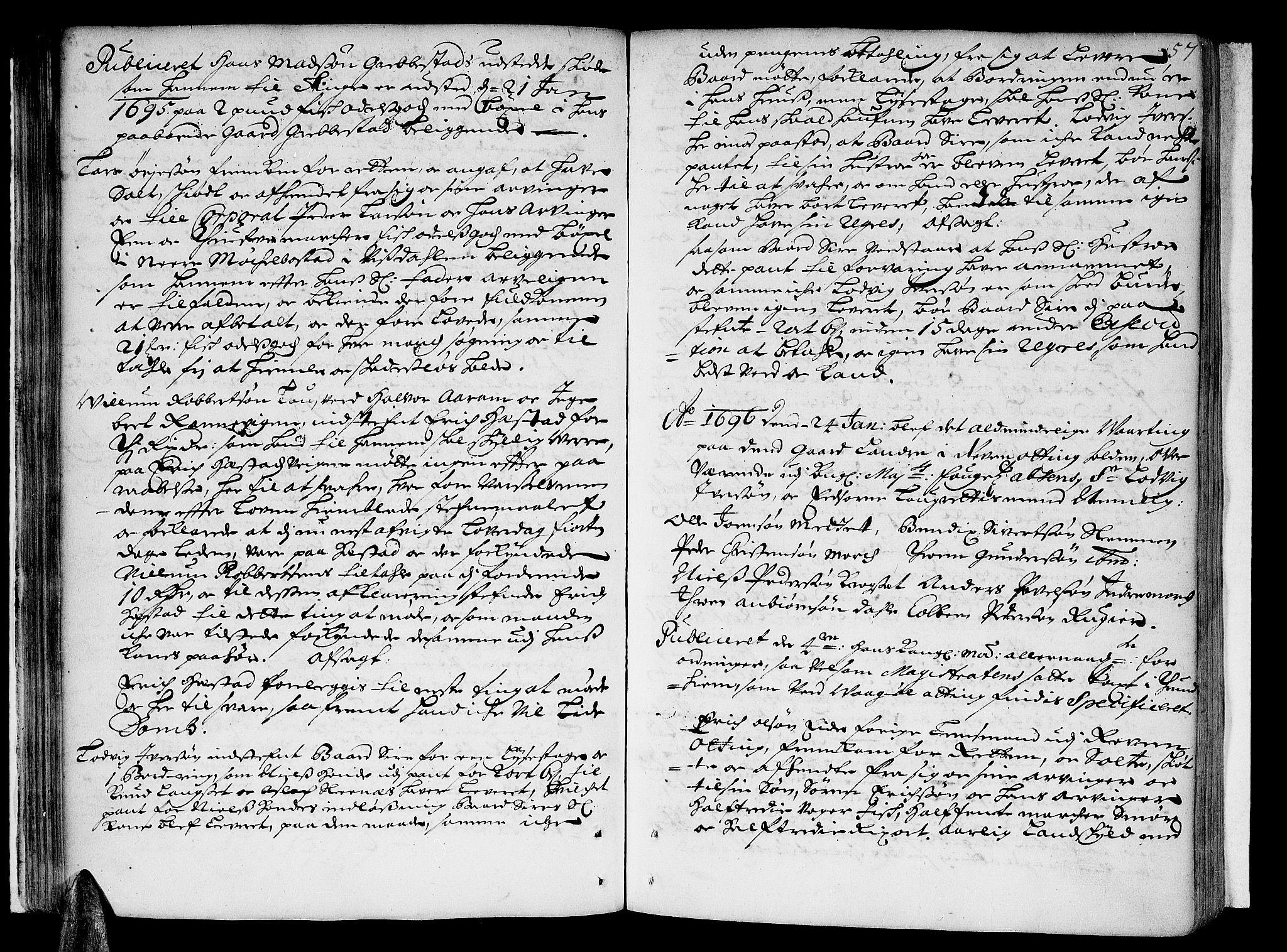 SAT, Romsdal sorenskriveri, 1/1A/L0003: Tingbok, 1694-1699, p. 56b-57a