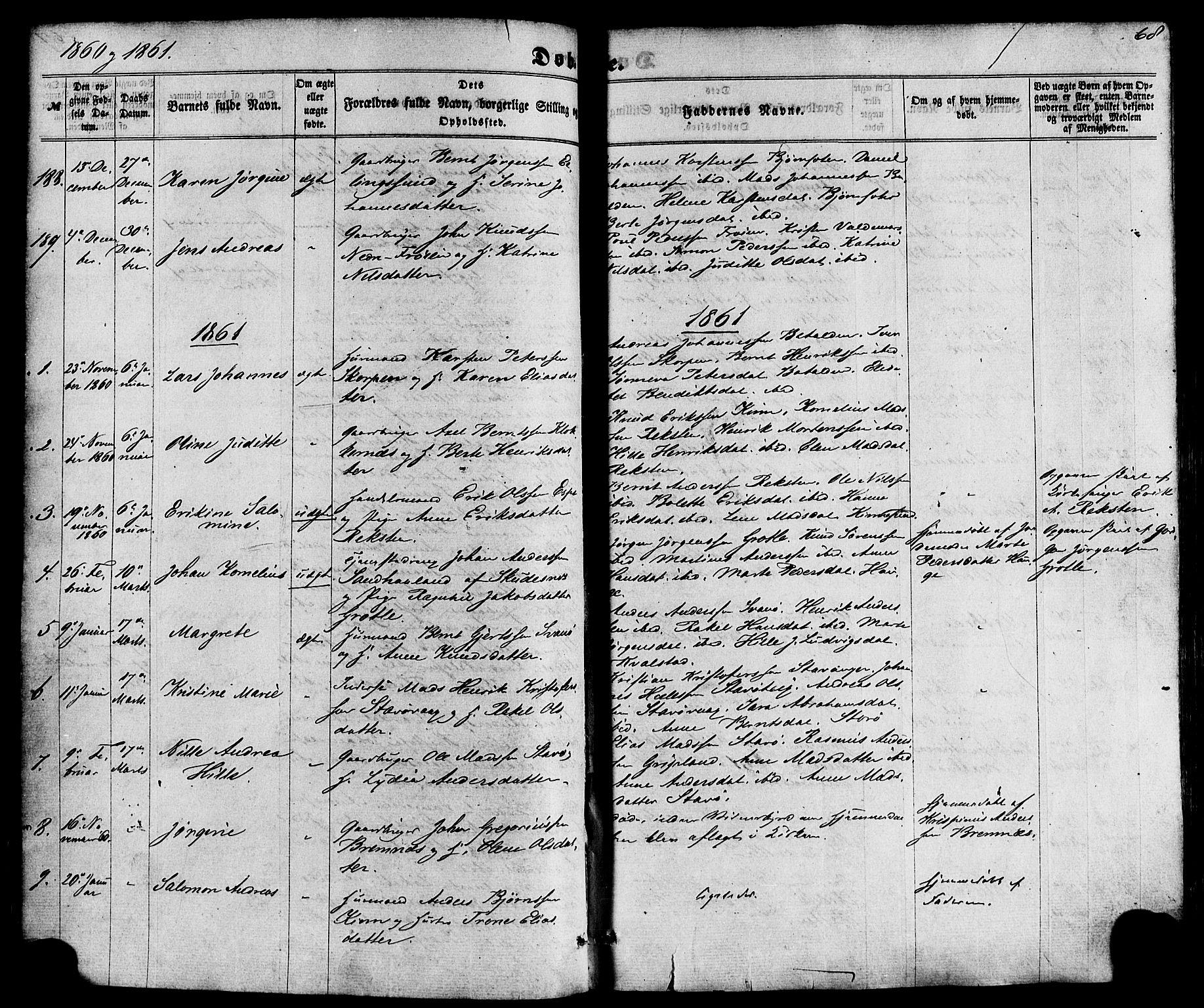 SAB, Kinn sokneprestembete, H/Haa/Haaa/L0006: Parish register (official) no. A 6, 1857-1885, p. 68