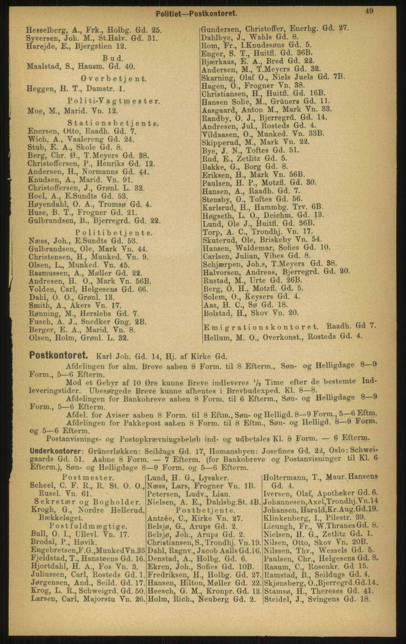 PUBL, Kristiania/Oslo adressebok, 1897, p. 49