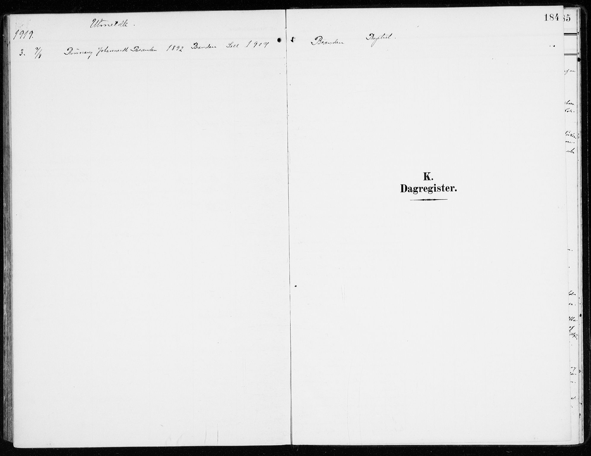 SAH, Sel prestekontor, Parish register (official) no. 2, 1905-1919, p. 184
