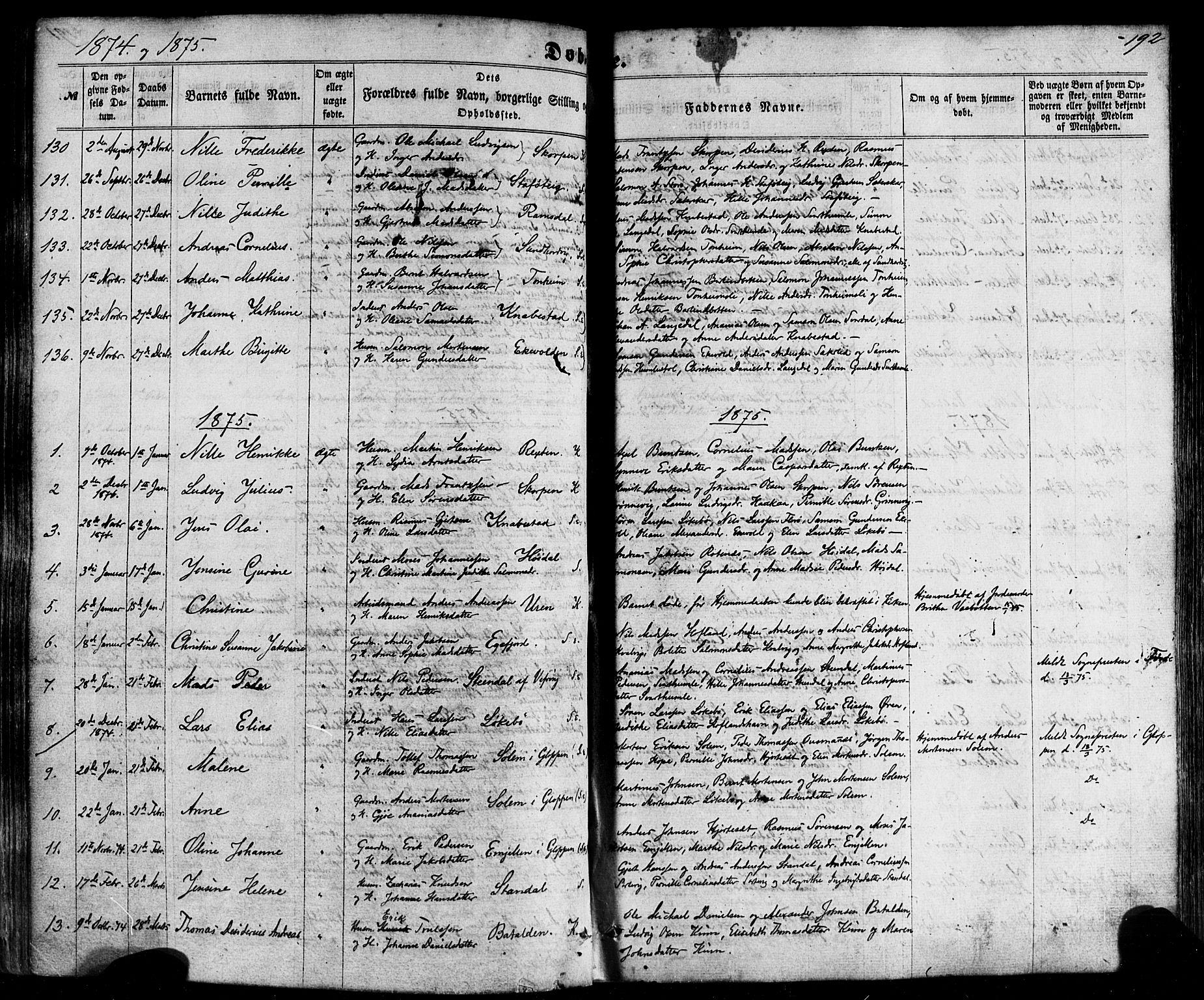 SAB, Kinn sokneprestembete, H/Haa/Haaa/L0006: Parish register (official) no. A 6, 1857-1885, p. 192