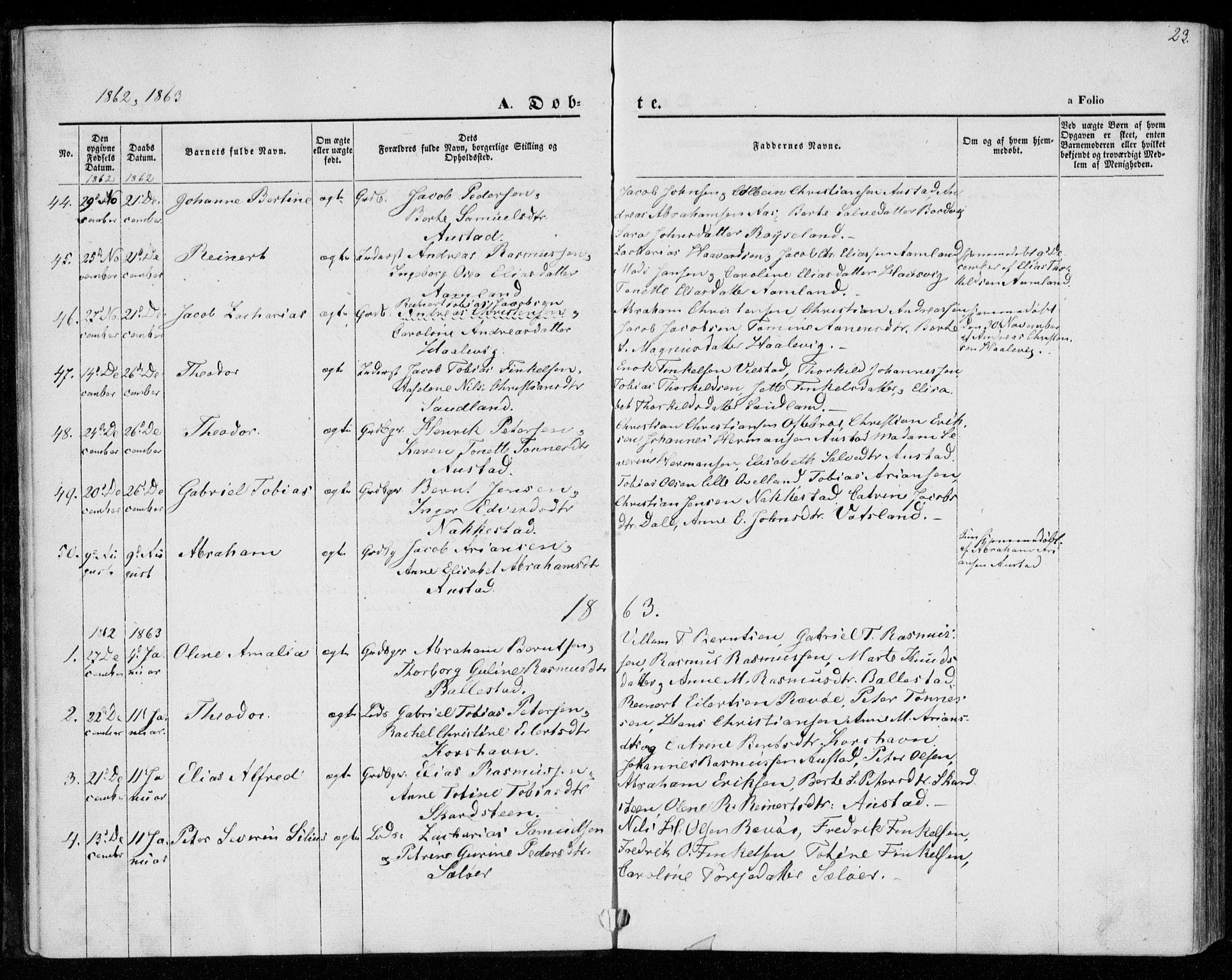 SAK, Lyngdal sokneprestkontor, F/Fa/Faa/L0002: Parish register (official) no. A 2, 1858-1870, p. 23