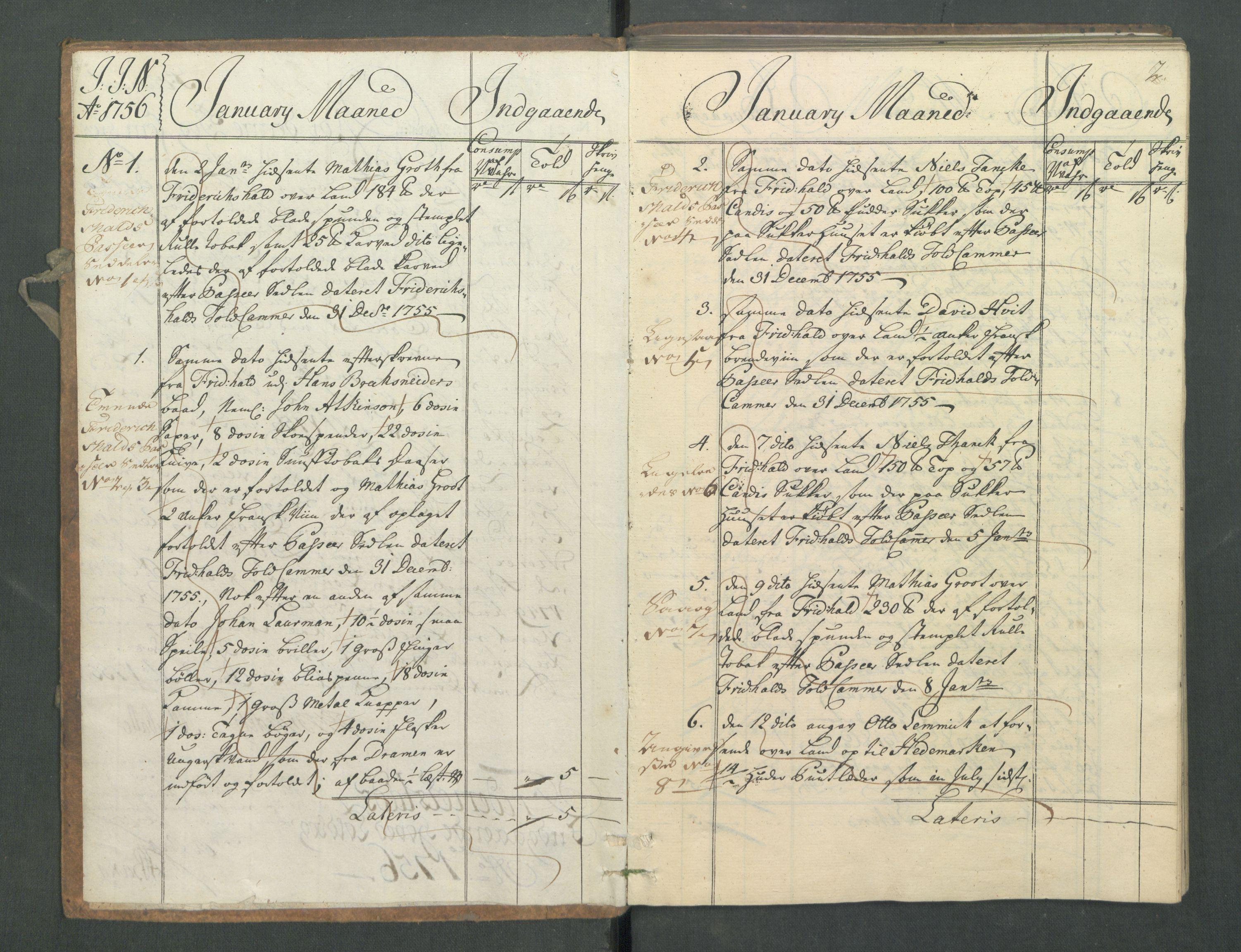 RA, Generaltollkammeret, tollregnskaper, R02/L0022: Tollregnskaper Fredrikstad, 1756, p. 1b-2a