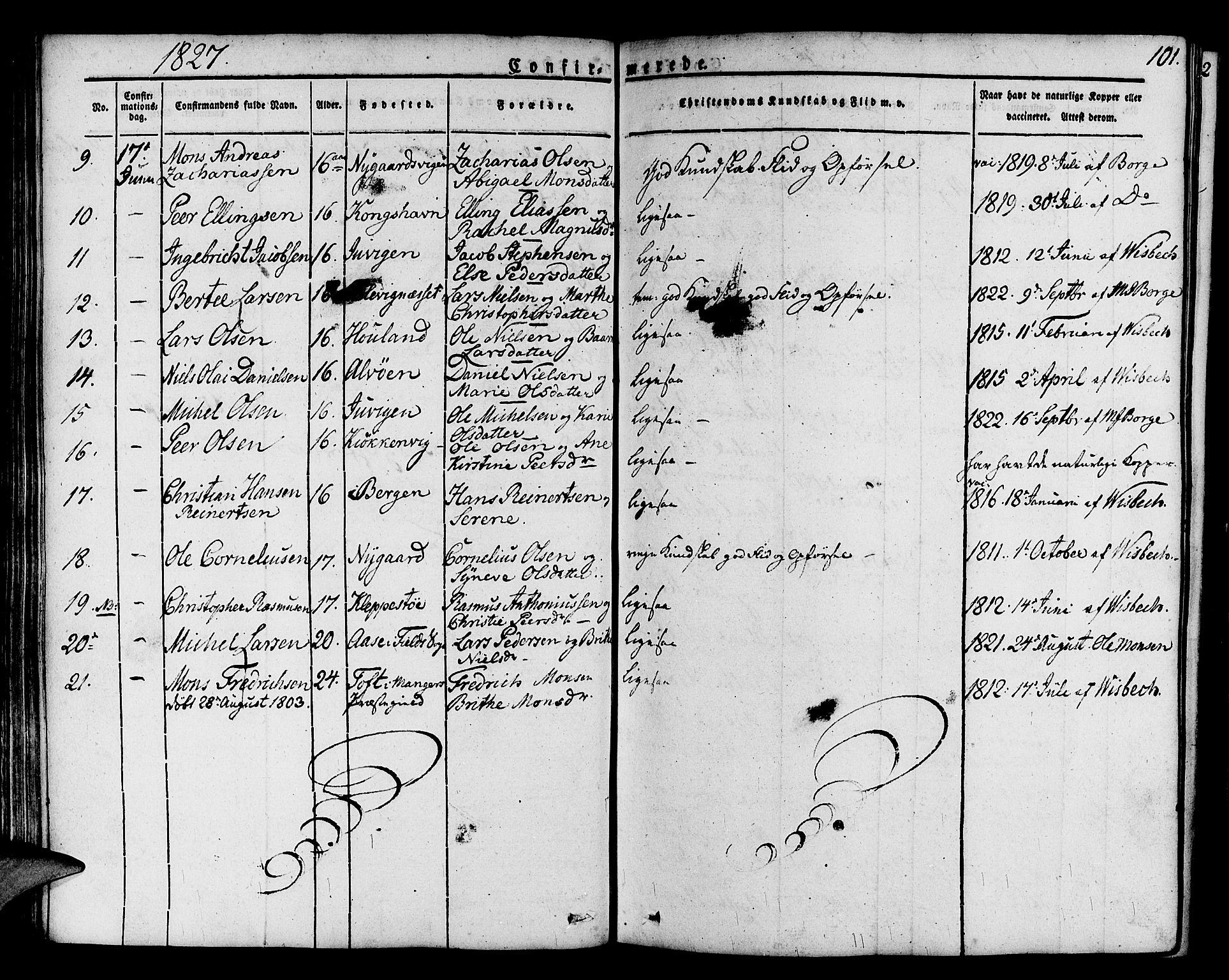 SAB, Askøy Sokneprestembete, H/Ha/Haa/Haaa/L0004: Parish register (official) no. A 4, 1825-1845, p. 101