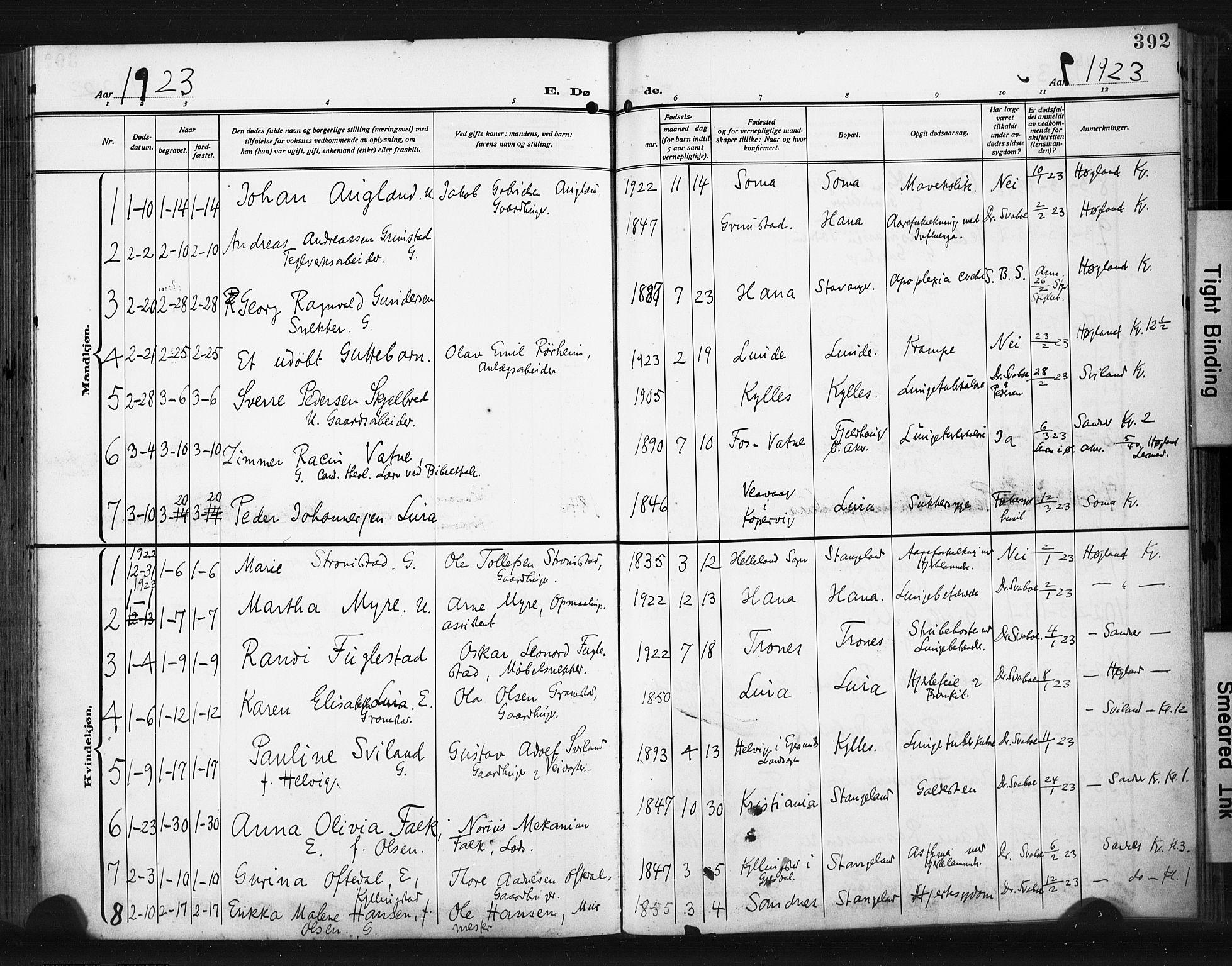 SAST, Høyland sokneprestkontor, 30BA/L0017: Parish register (official) no. A 15, 1912-1924, p. 392