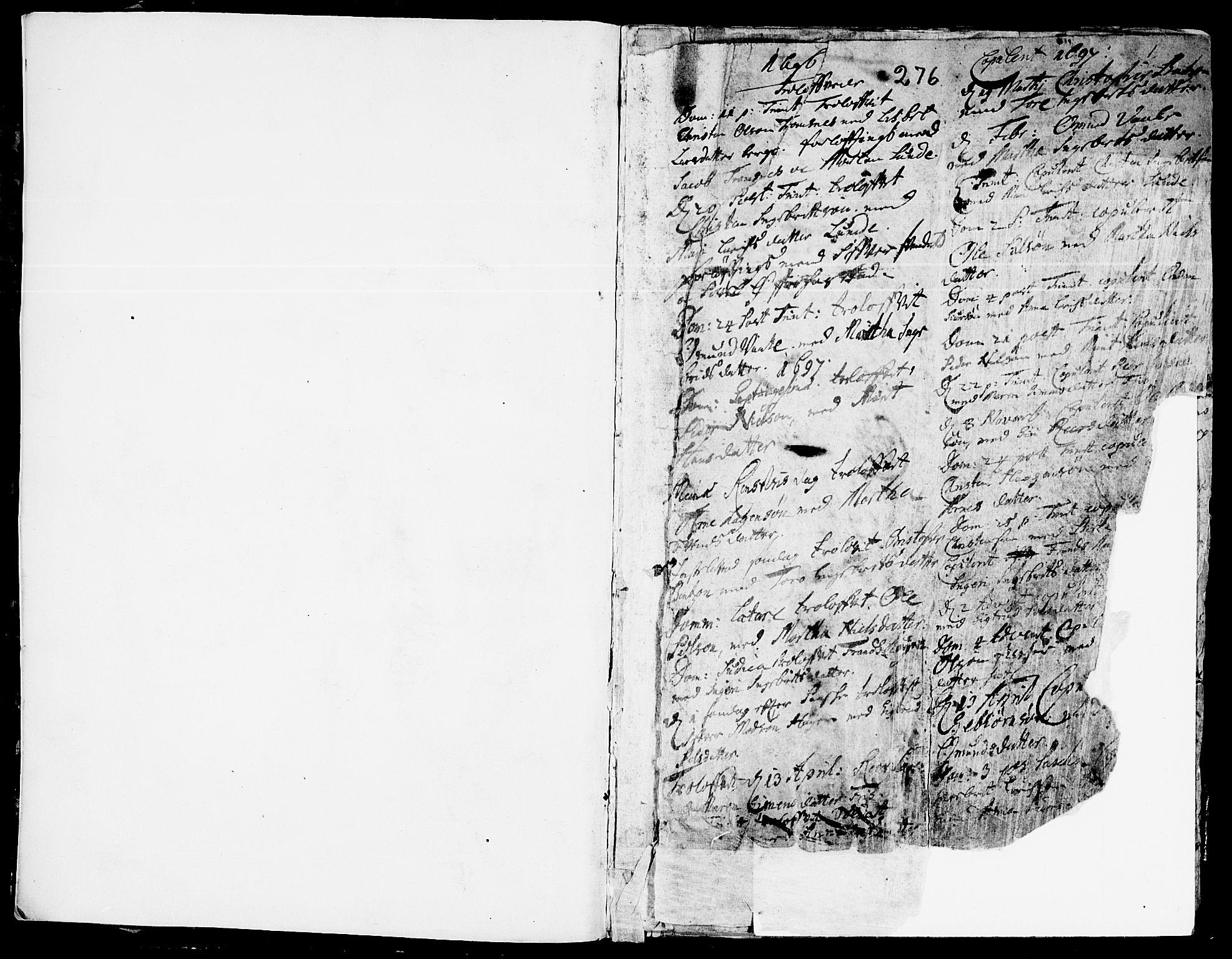 SAH, Ringebu prestekontor, Parish register (official) no. 1, 1696-1733, p. 0-1