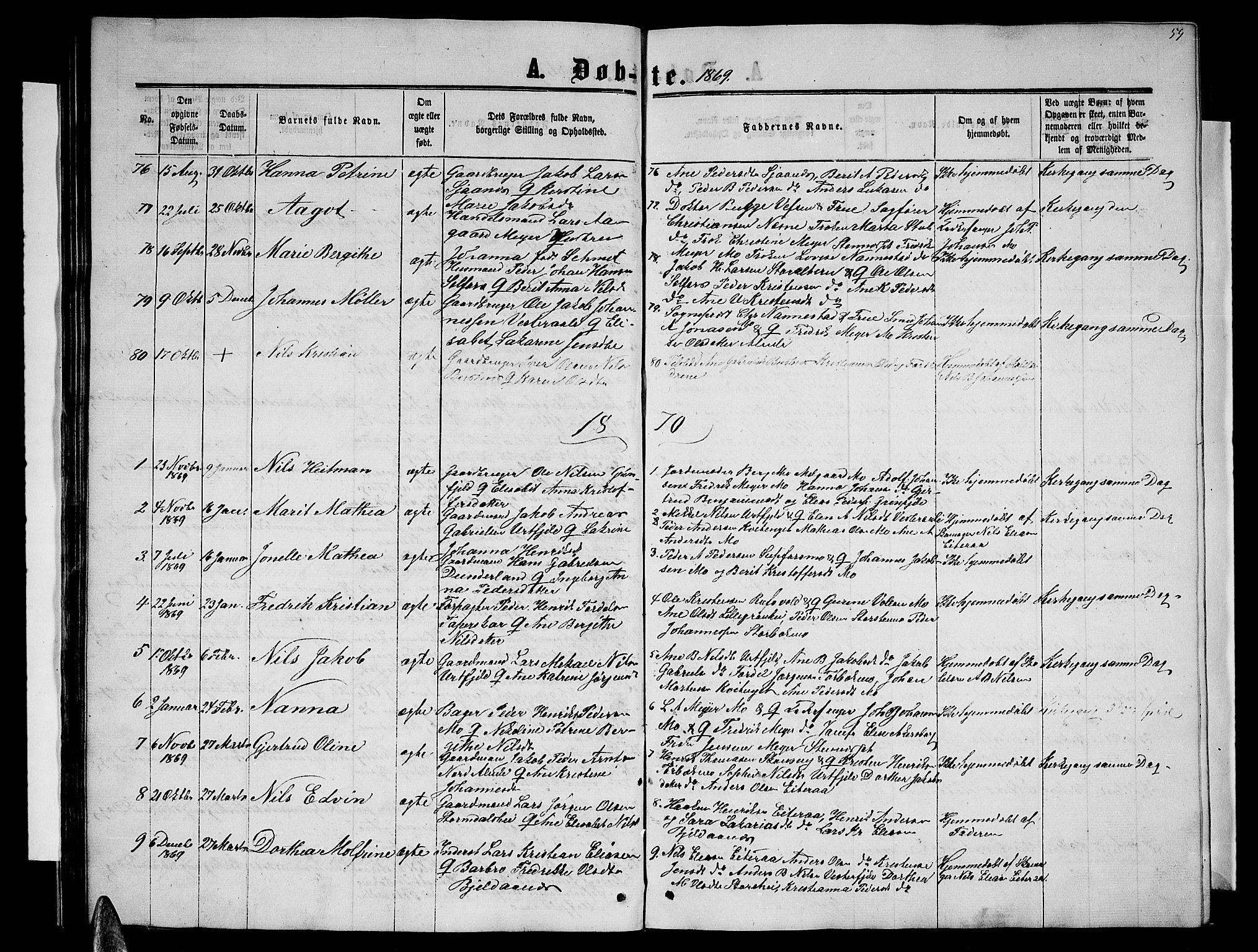 SAT, Ministerialprotokoller, klokkerbøker og fødselsregistre - Nordland, 827/L0415: Parish register (copy) no. 827C04, 1864-1886, p. 59