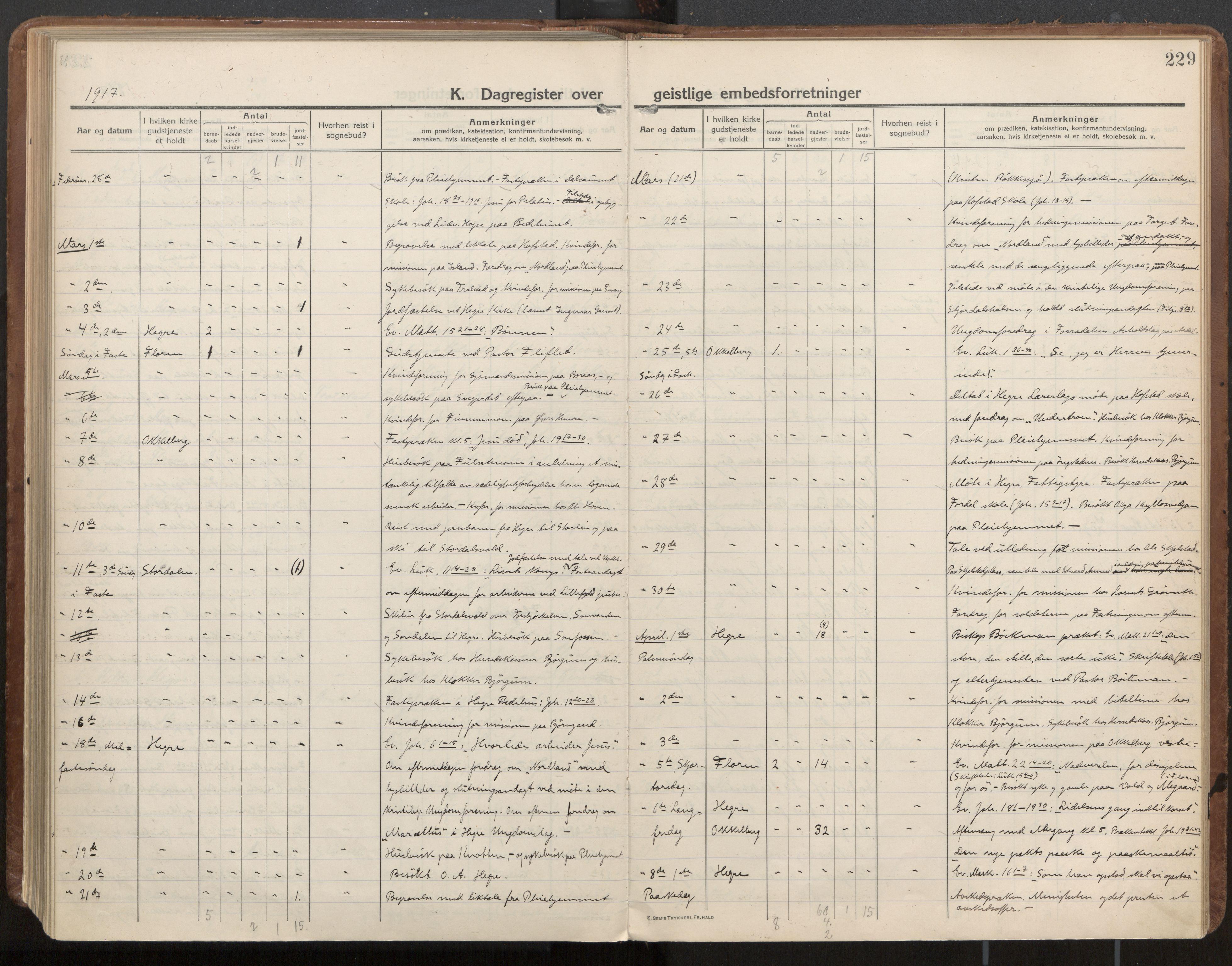 SAT, Ministerialprotokoller, klokkerbøker og fødselsregistre - Nord-Trøndelag, 703/L0037: Parish register (official) no. 703A10, 1915-1932, p. 229