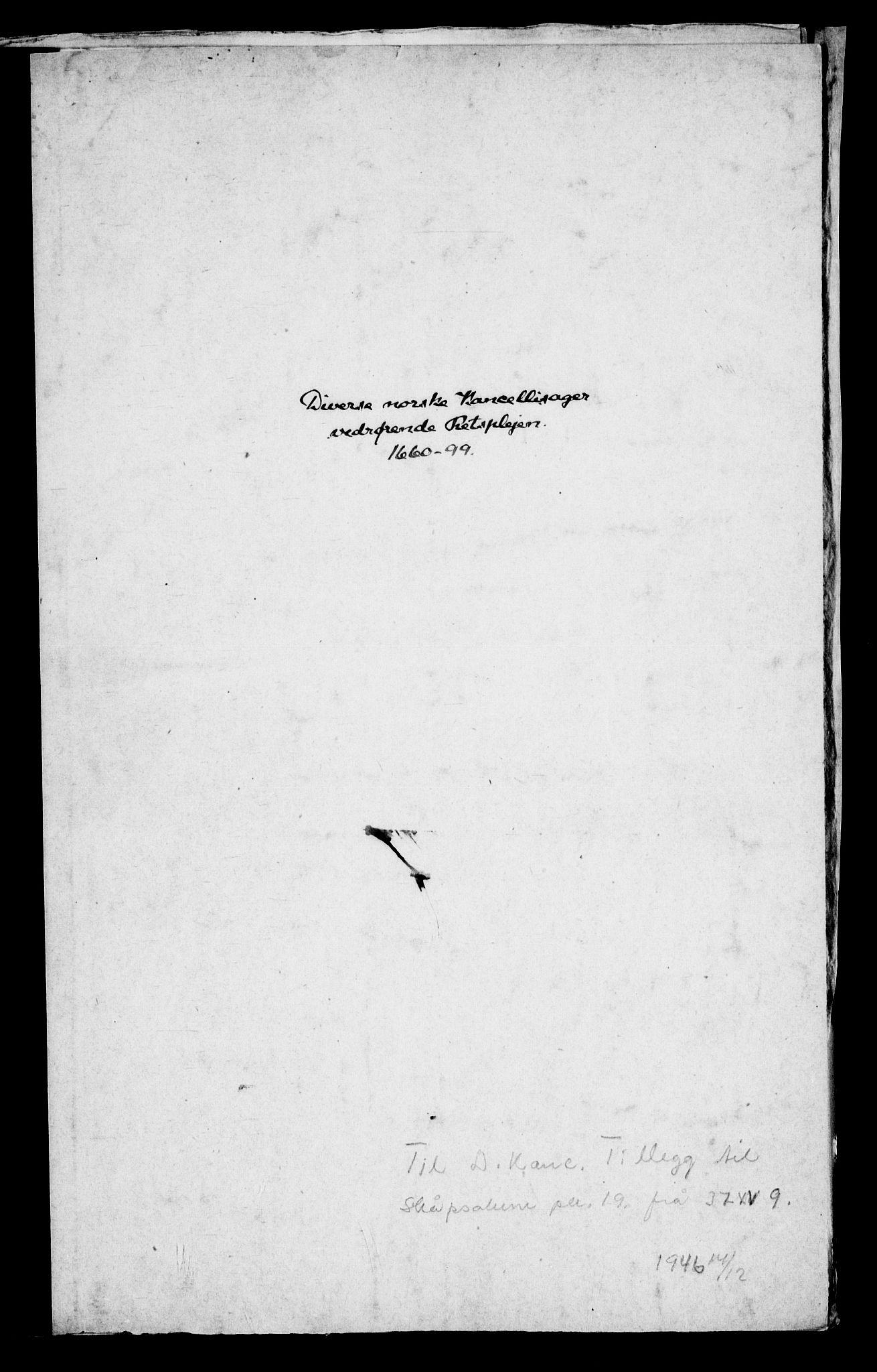 RA, Danske Kanselli, Skapsaker, G/L0019: Tillegg til skapsakene, 1616-1753, p. 287