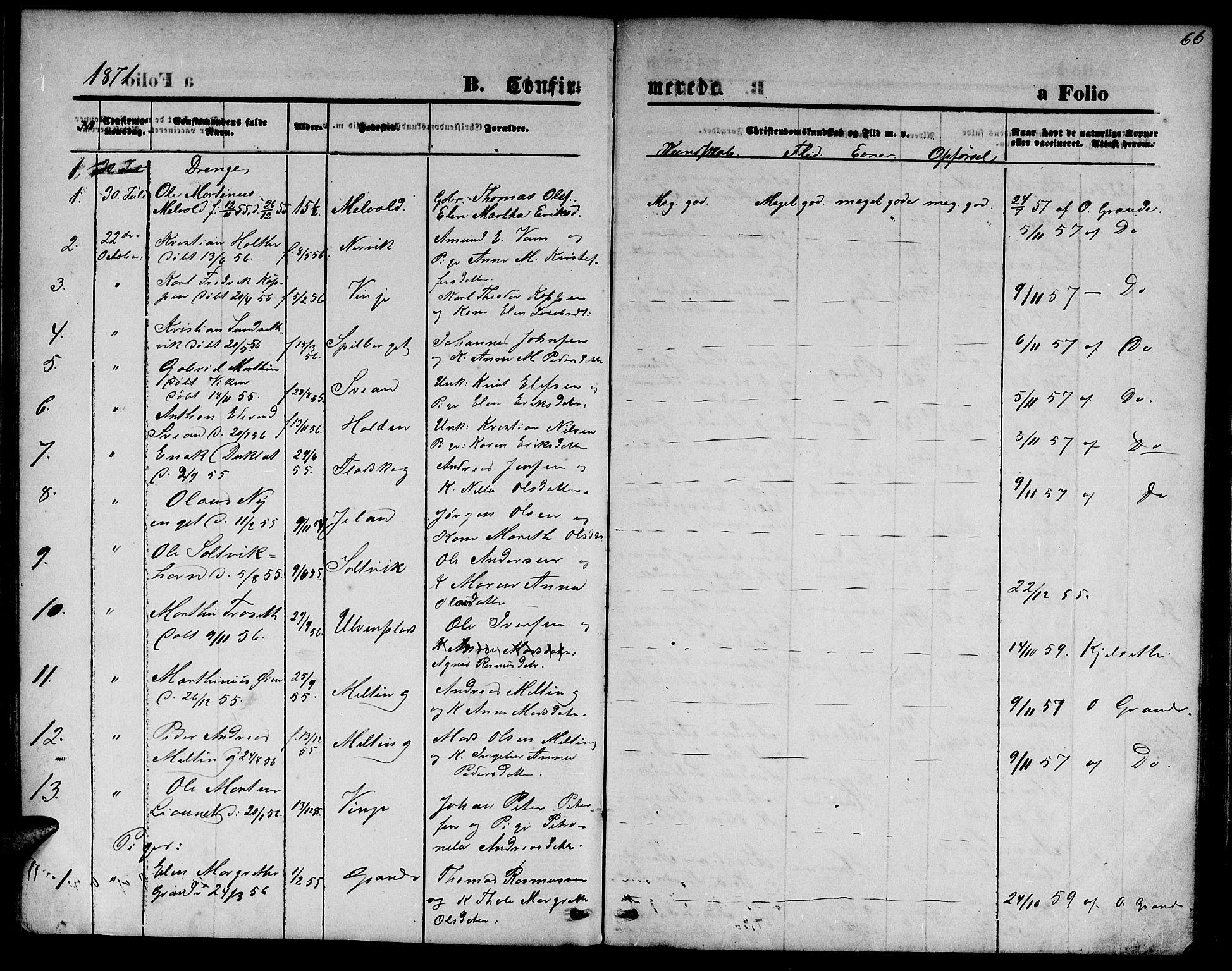 SAT, Ministerialprotokoller, klokkerbøker og fødselsregistre - Nord-Trøndelag, 733/L0326: Parish register (copy) no. 733C01, 1871-1887, p. 66