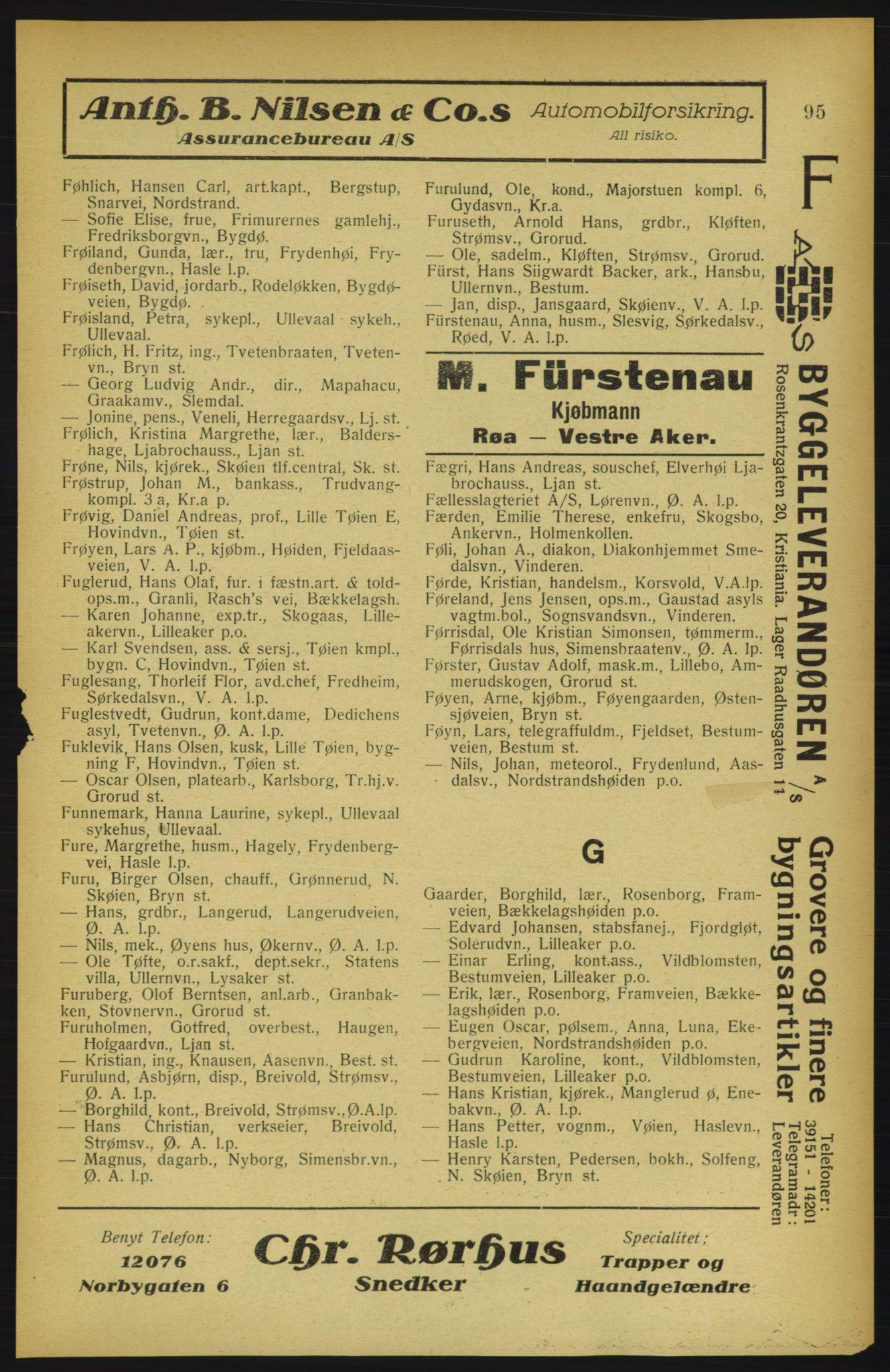 RA, Aker adressebok/adressekalender (publikasjon)*, 1922, p. 95