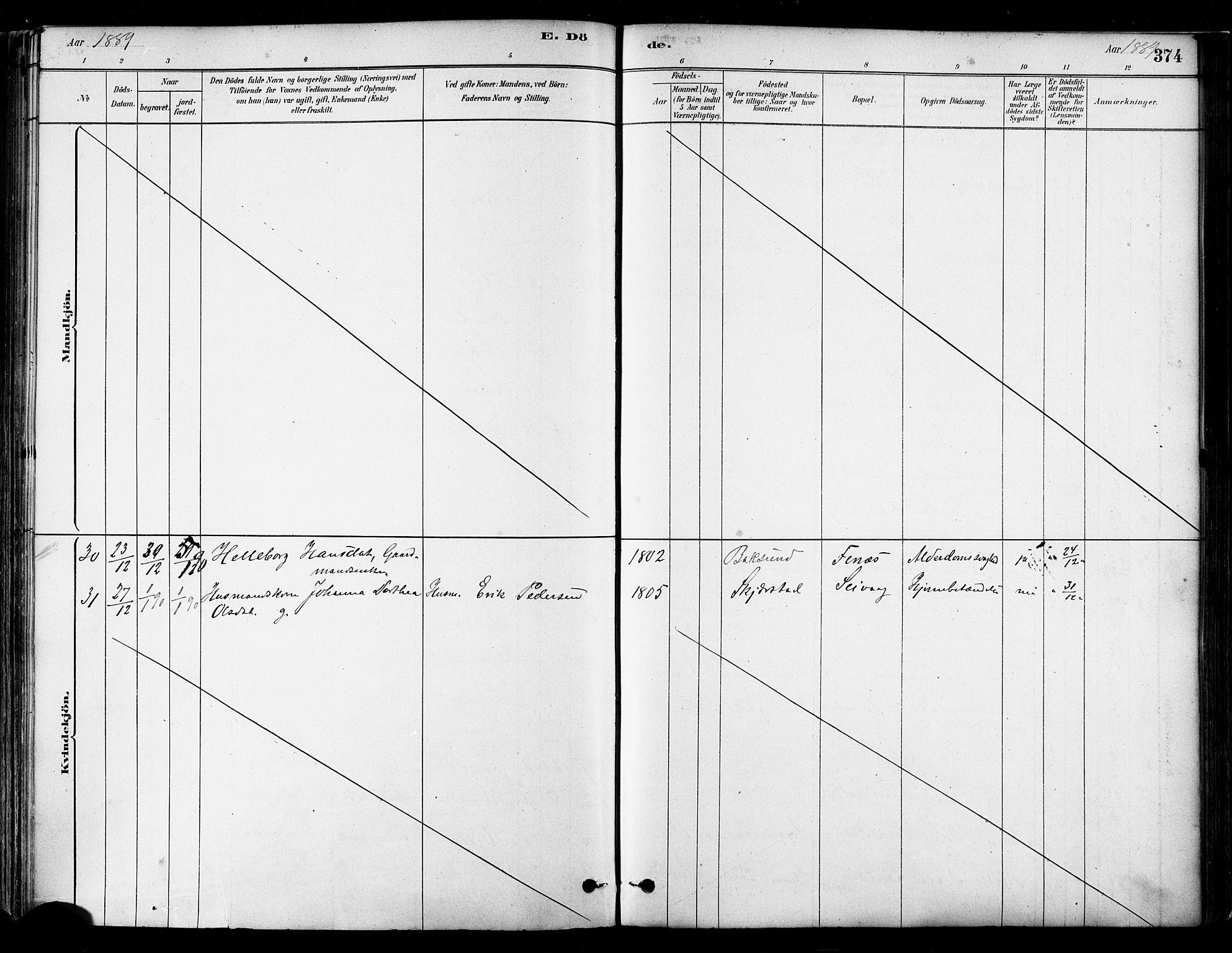 SAT, Ministerialprotokoller, klokkerbøker og fødselsregistre - Nordland, 802/L0054: Parish register (official) no. 802A01, 1879-1893, p. 374
