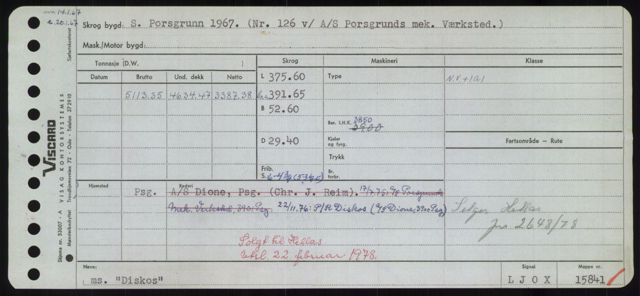 RA, Sjøfartsdirektoratet med forløpere, Skipsmålingen, H/Hd/L0008: Fartøy, C-D, p. 519