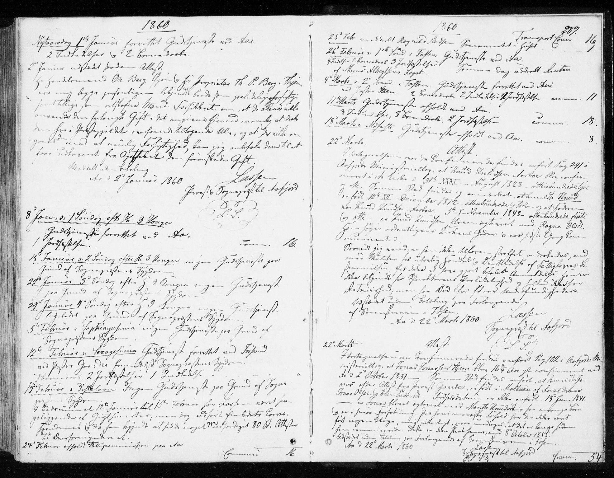 SAT, Ministerialprotokoller, klokkerbøker og fødselsregistre - Sør-Trøndelag, 655/L0677: Parish register (official) no. 655A06, 1847-1860, p. 289