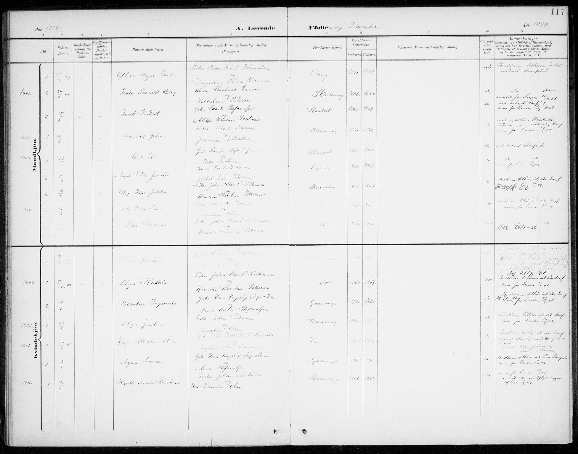 SATØ, Lenvik sokneprestembete, H/Ha: Parish register (official) no. 14, 1899-1909, p. 117