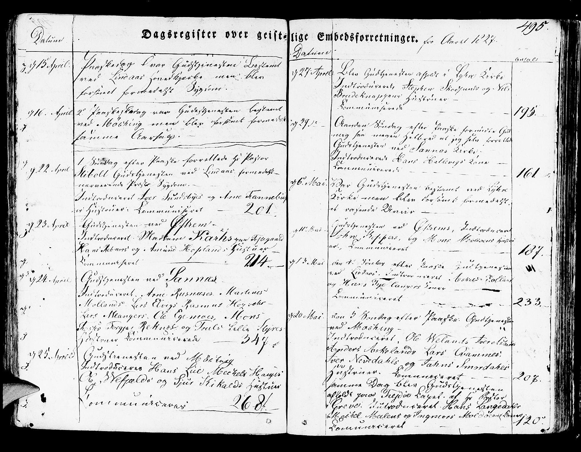 SAB, Lindås Sokneprestembete, H/Haa: Parish register (official) no. A 8, 1823-1836, p. 495