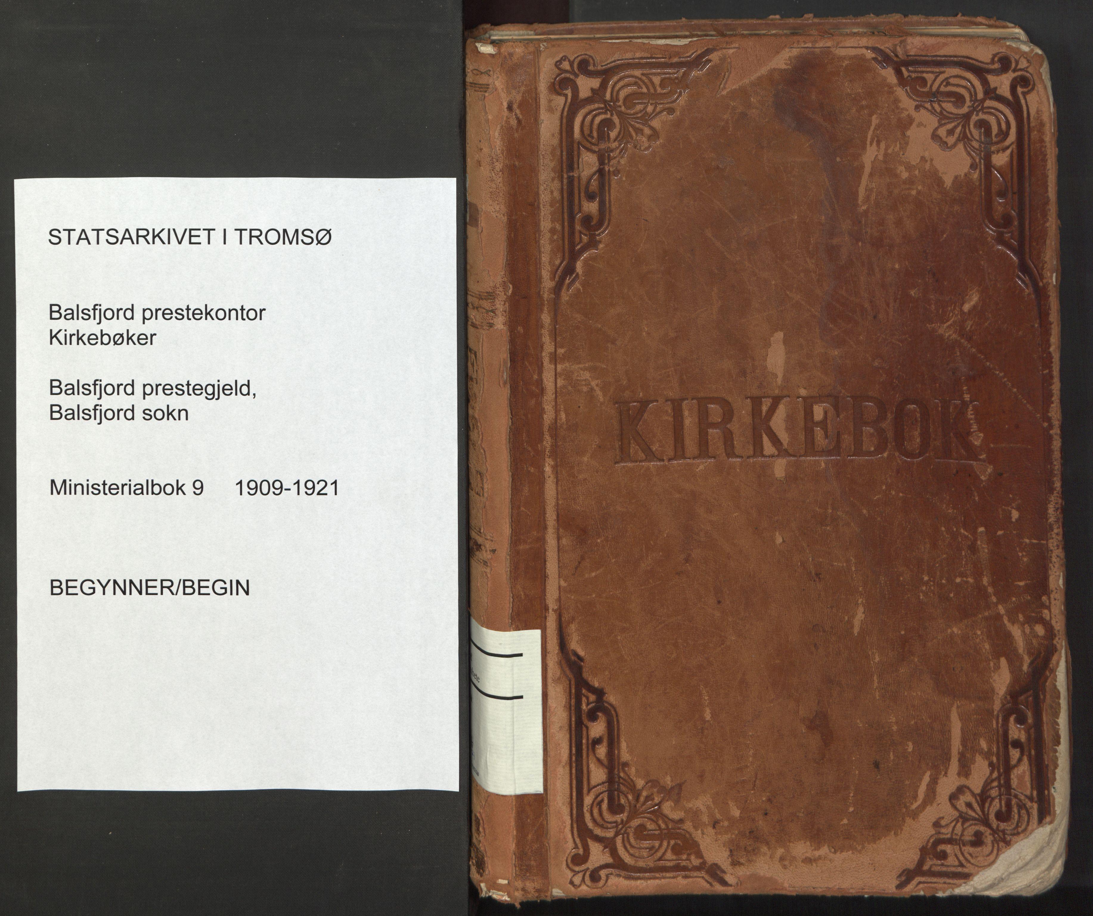 SATØ, Balsfjord sokneprestembete, Parish register (official) no. 9, 1909-1921
