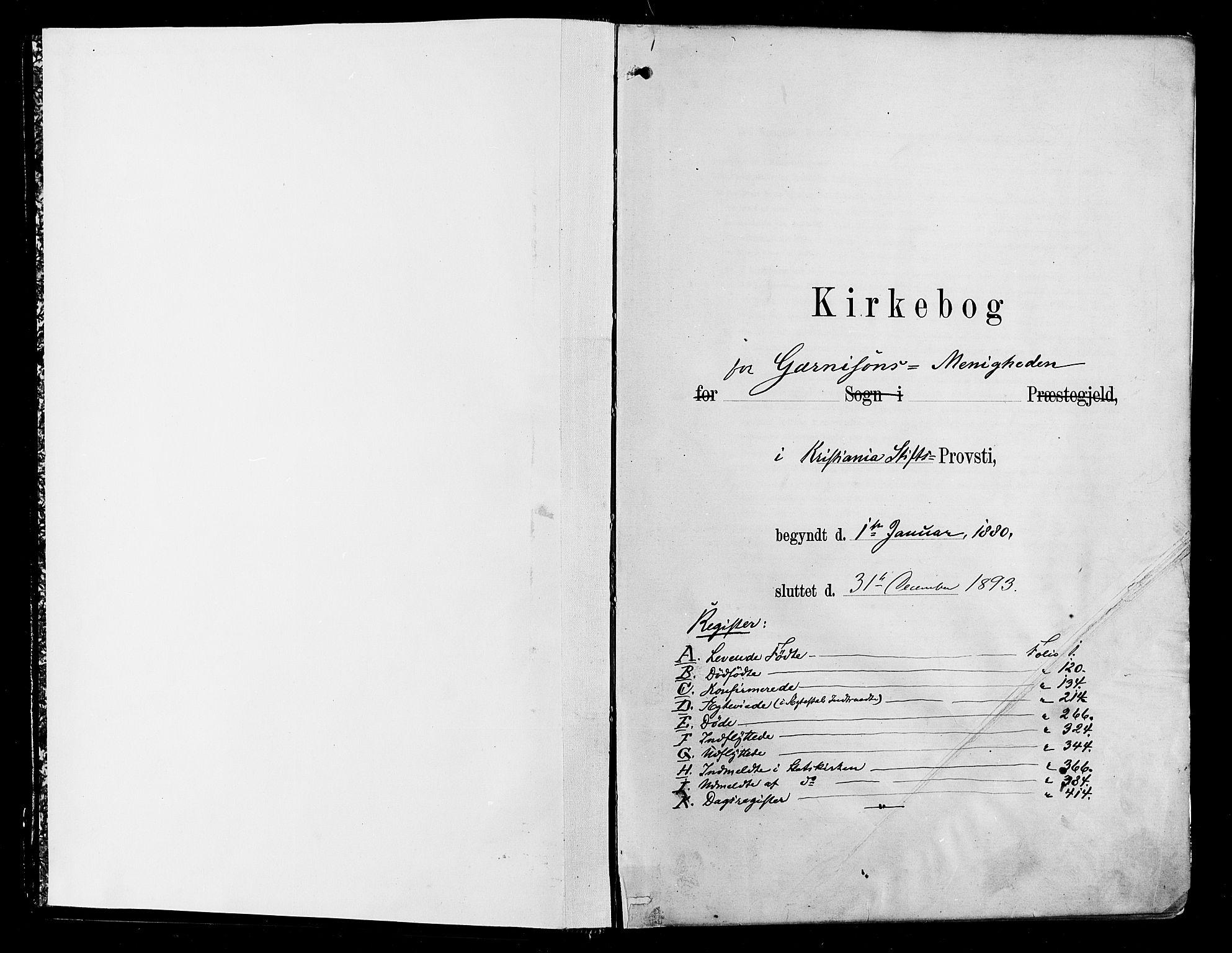 SAO, Garnisonsmenigheten Kirkebøker, F/Fa/L0012: Parish register (official) no. 12, 1880-1893