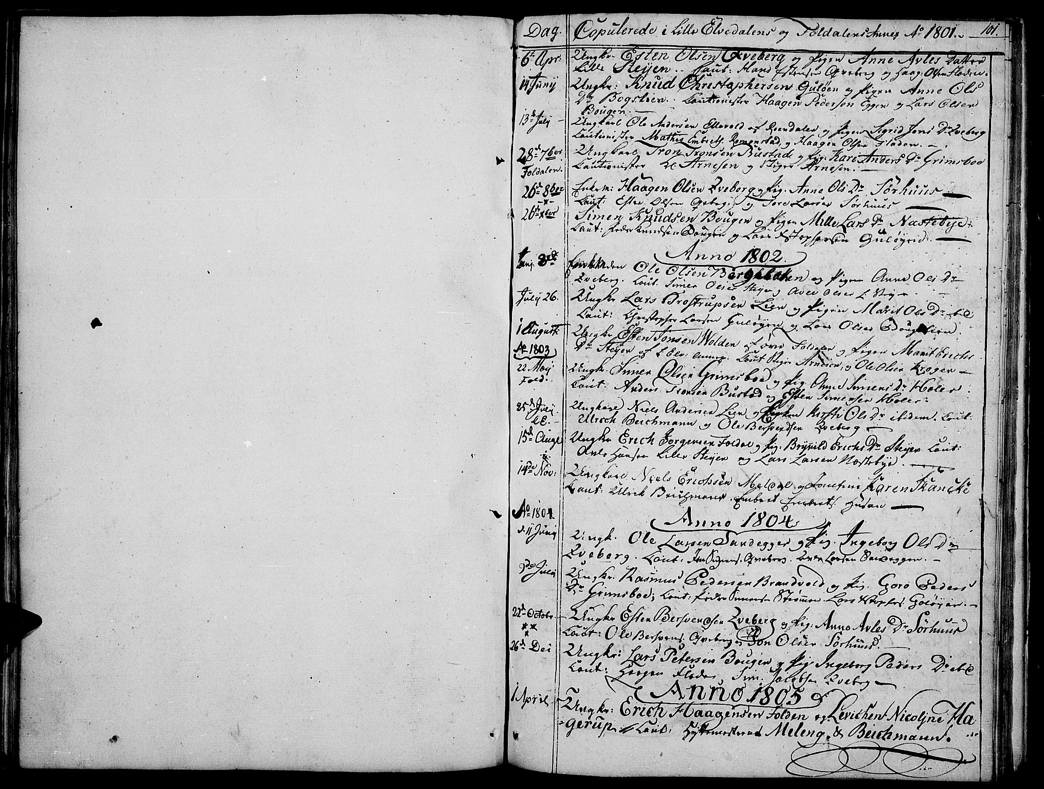 SAH, Tynset prestekontor, Parish register (official) no. 16, 1801-1814, p. 101