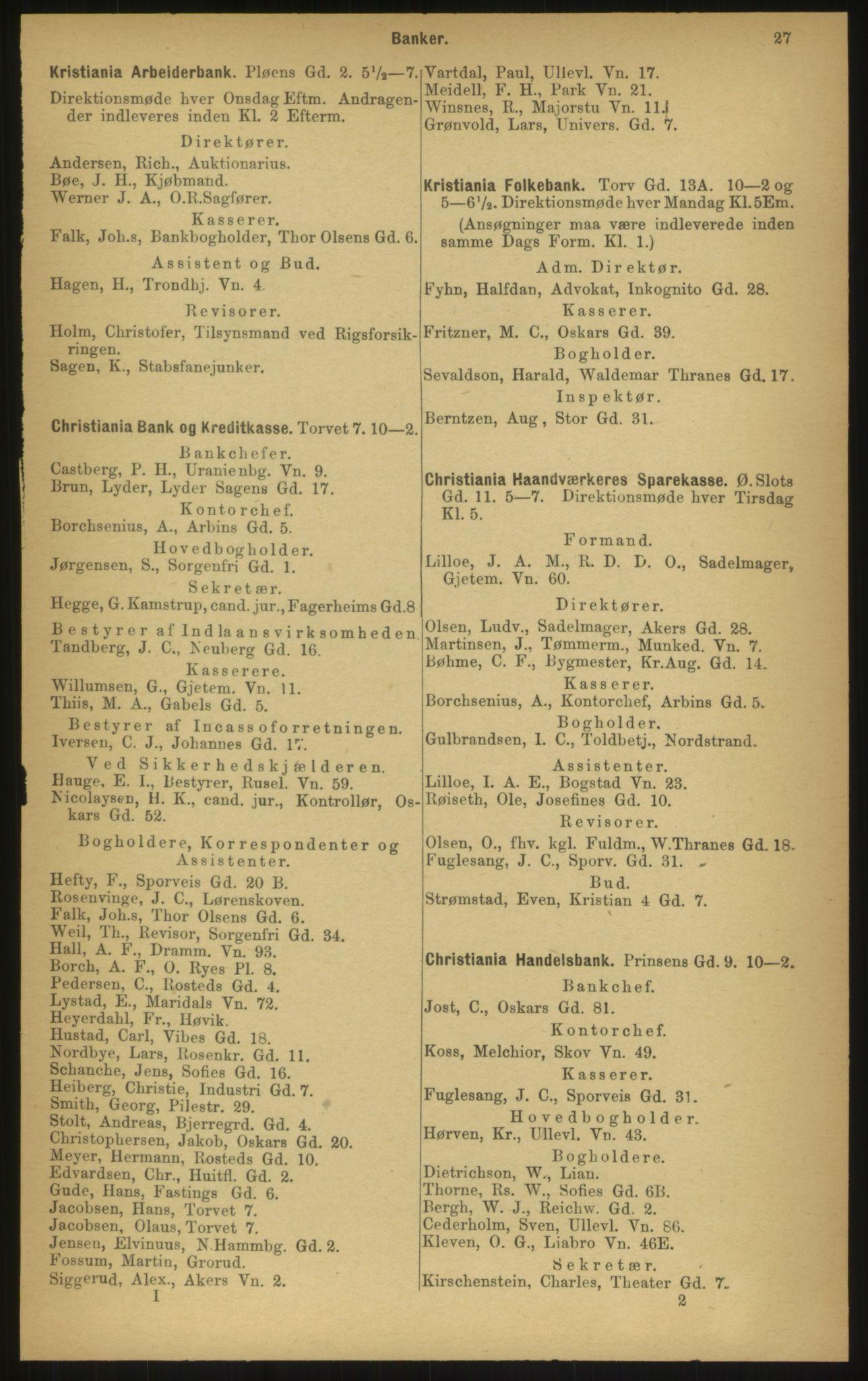 PUBL, Kristiania/Oslo adressebok, 1897, p. 27