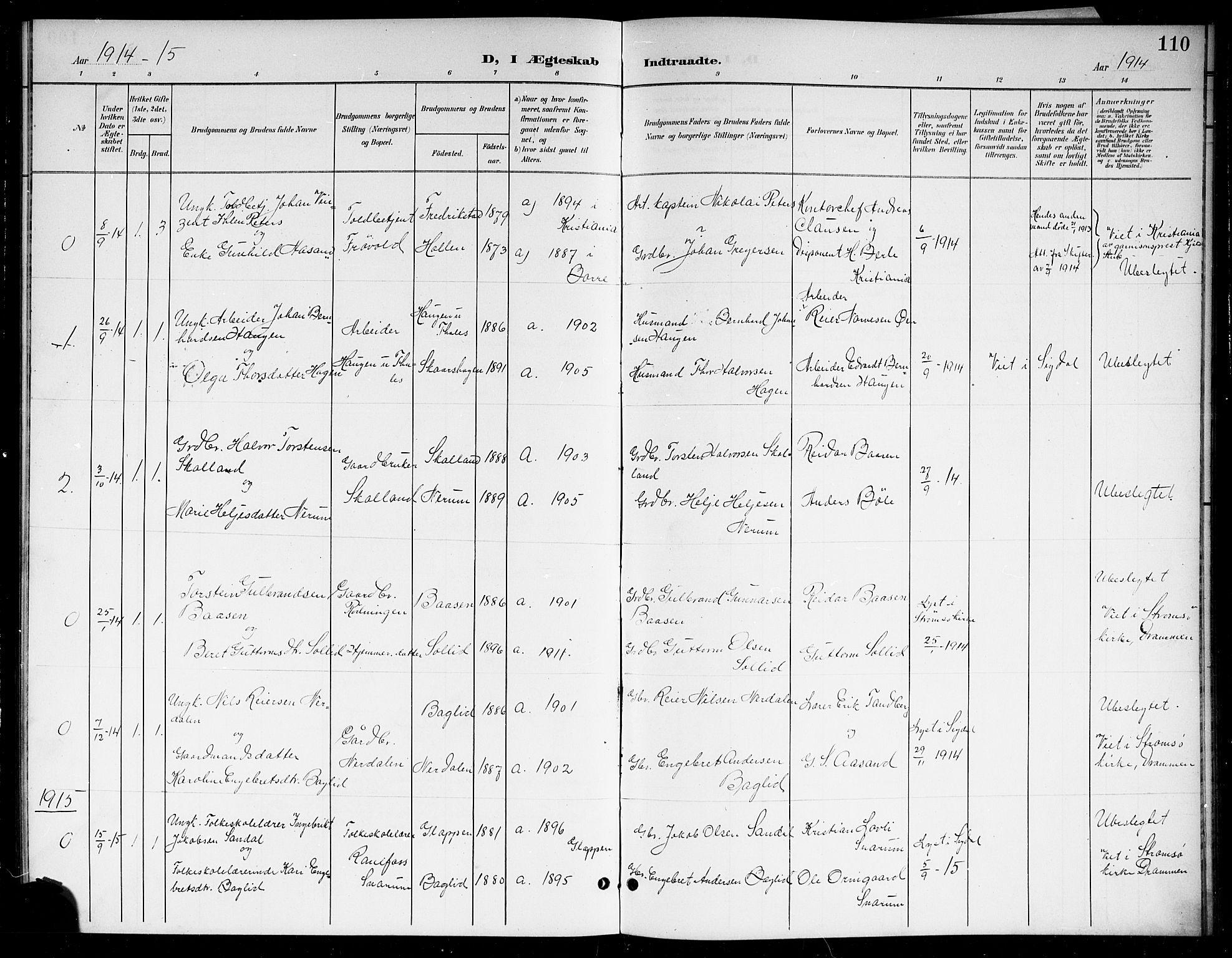 SAKO, Sigdal kirkebøker, G/Gb/L0003: Parish register (copy) no. II 3, 1901-1916, p. 110