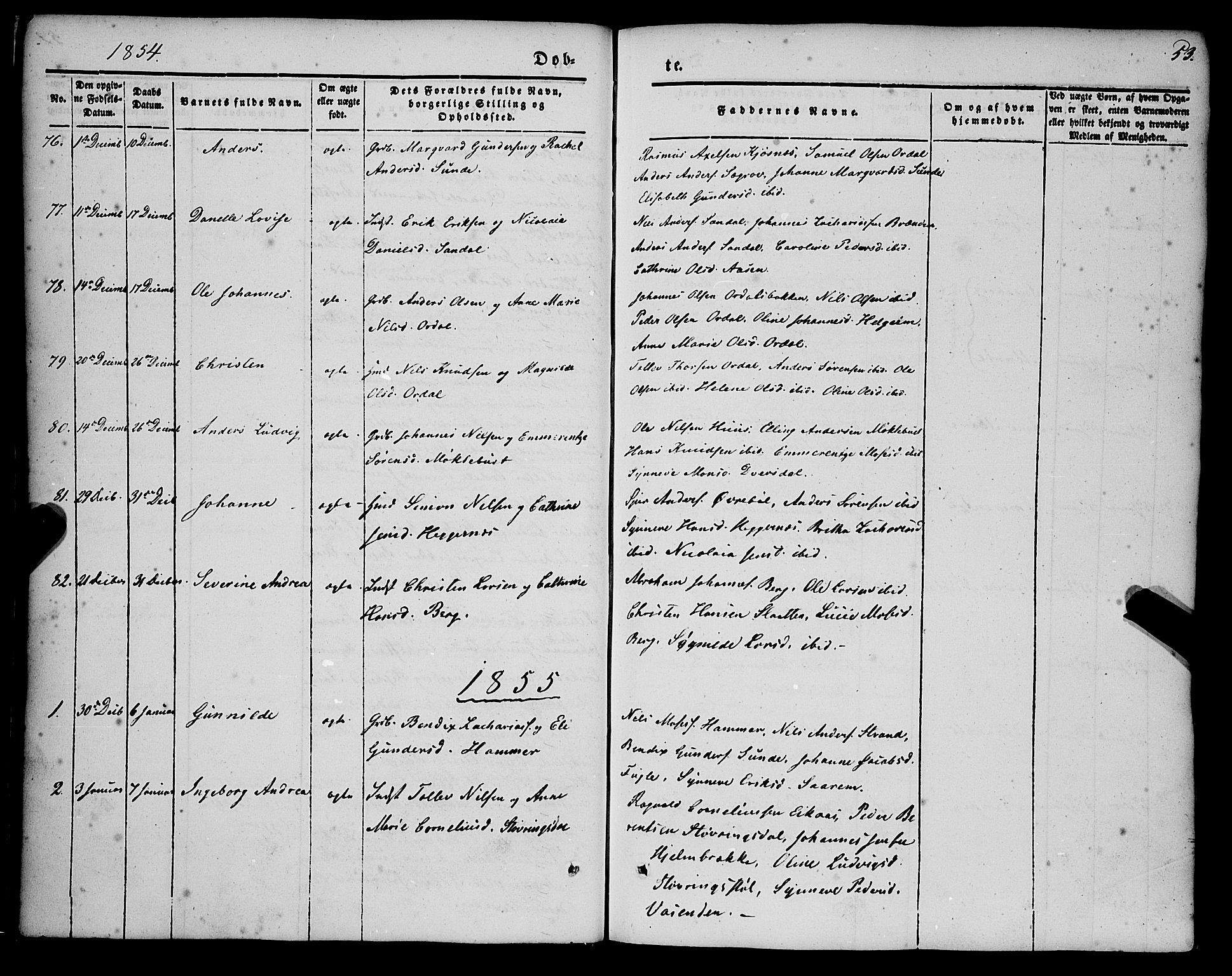 SAB, Jølster sokneprestembete, H/Haa/Haaa/L0010: Parish register (official) no. A 10, 1847-1865, p. 53