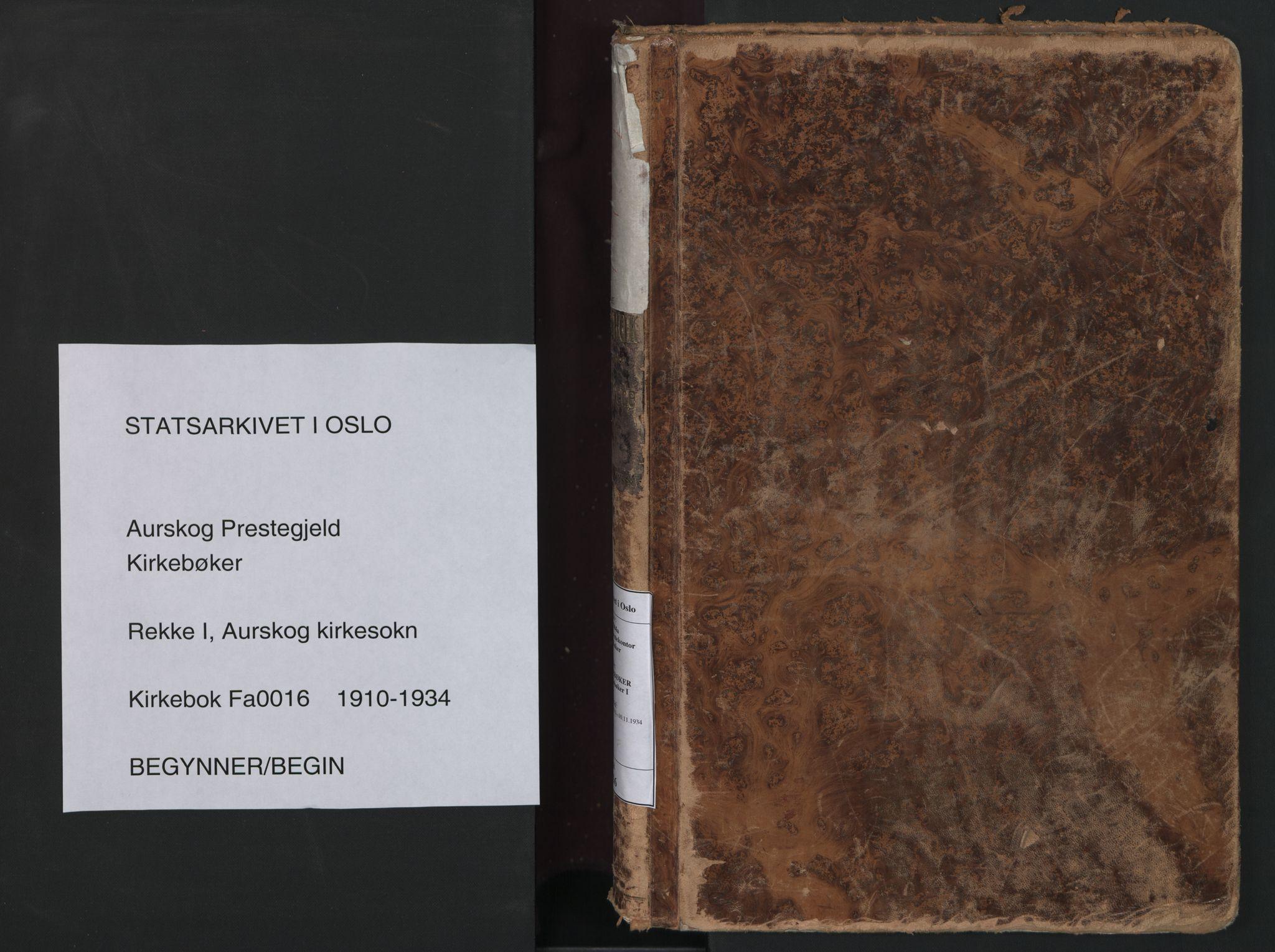 SAO, Aurskog prestekontor Kirkebøker, F/Fa/L0016: Parish register (official) no. I 16, 1910-1934