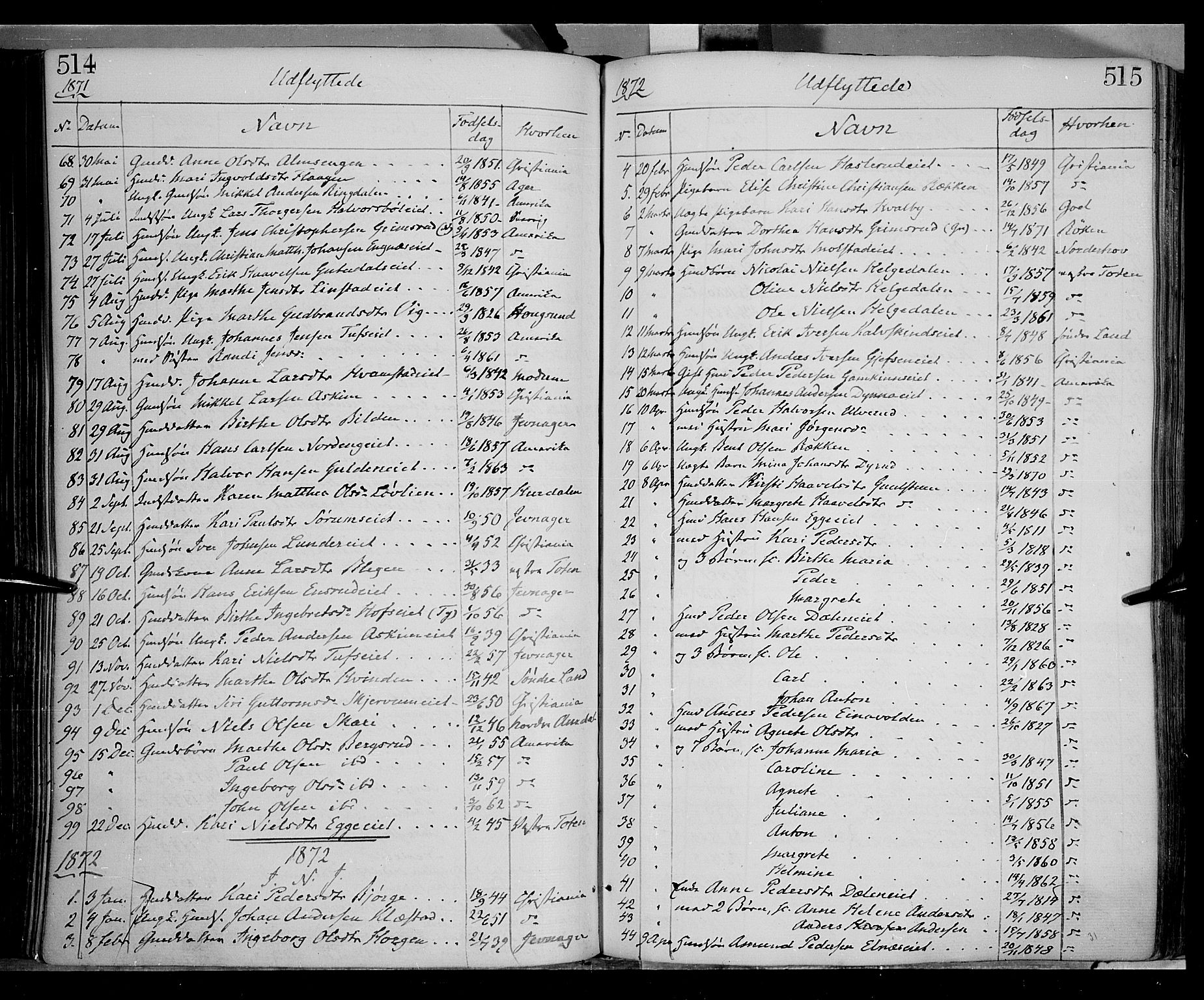 SAH, Gran prestekontor, Parish register (official) no. 12, 1856-1874, p. 514-515