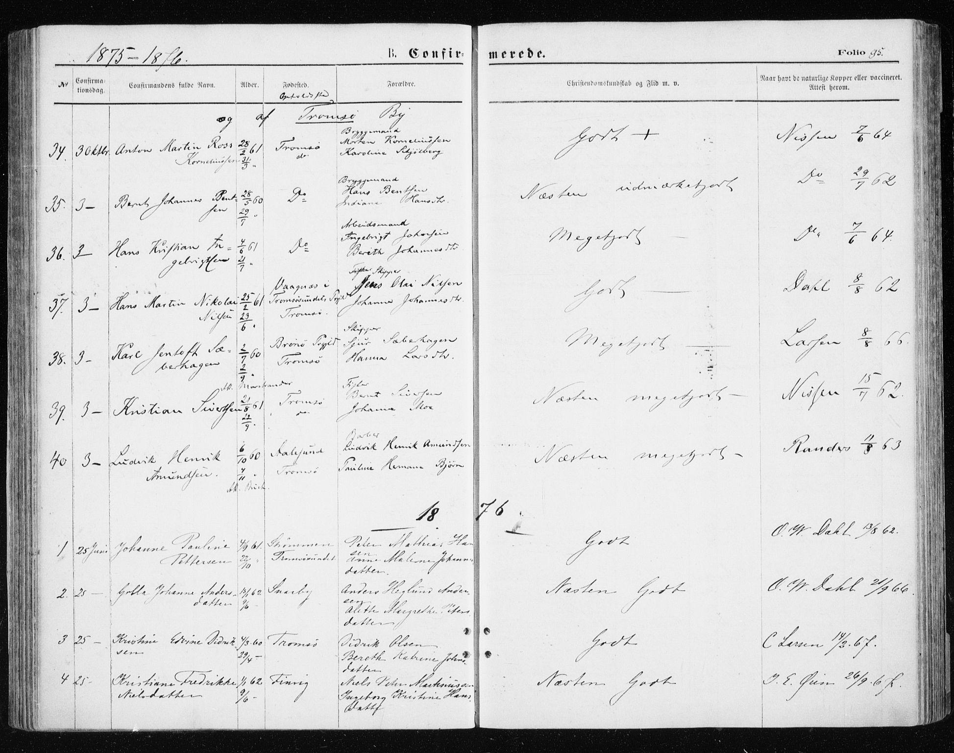 SATØ, Tromsøysund sokneprestkontor, G/Ga/L0003kirke: Parish register (official) no. 3, 1875-1880, p. 95
