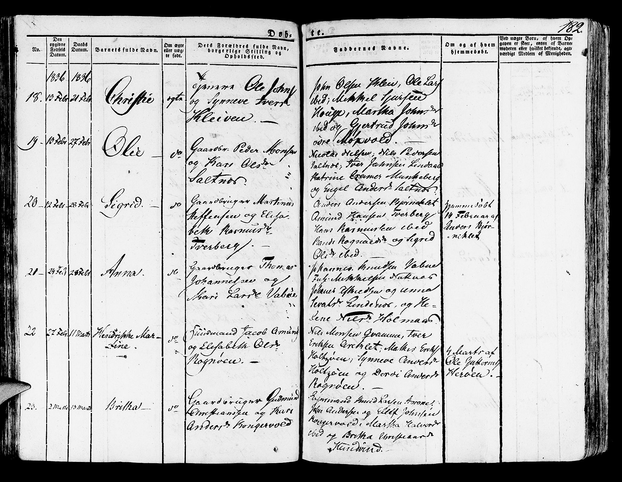 SAB, Lindås Sokneprestembete, H/Haa: Parish register (official) no. A 8, 1823-1836, p. 182