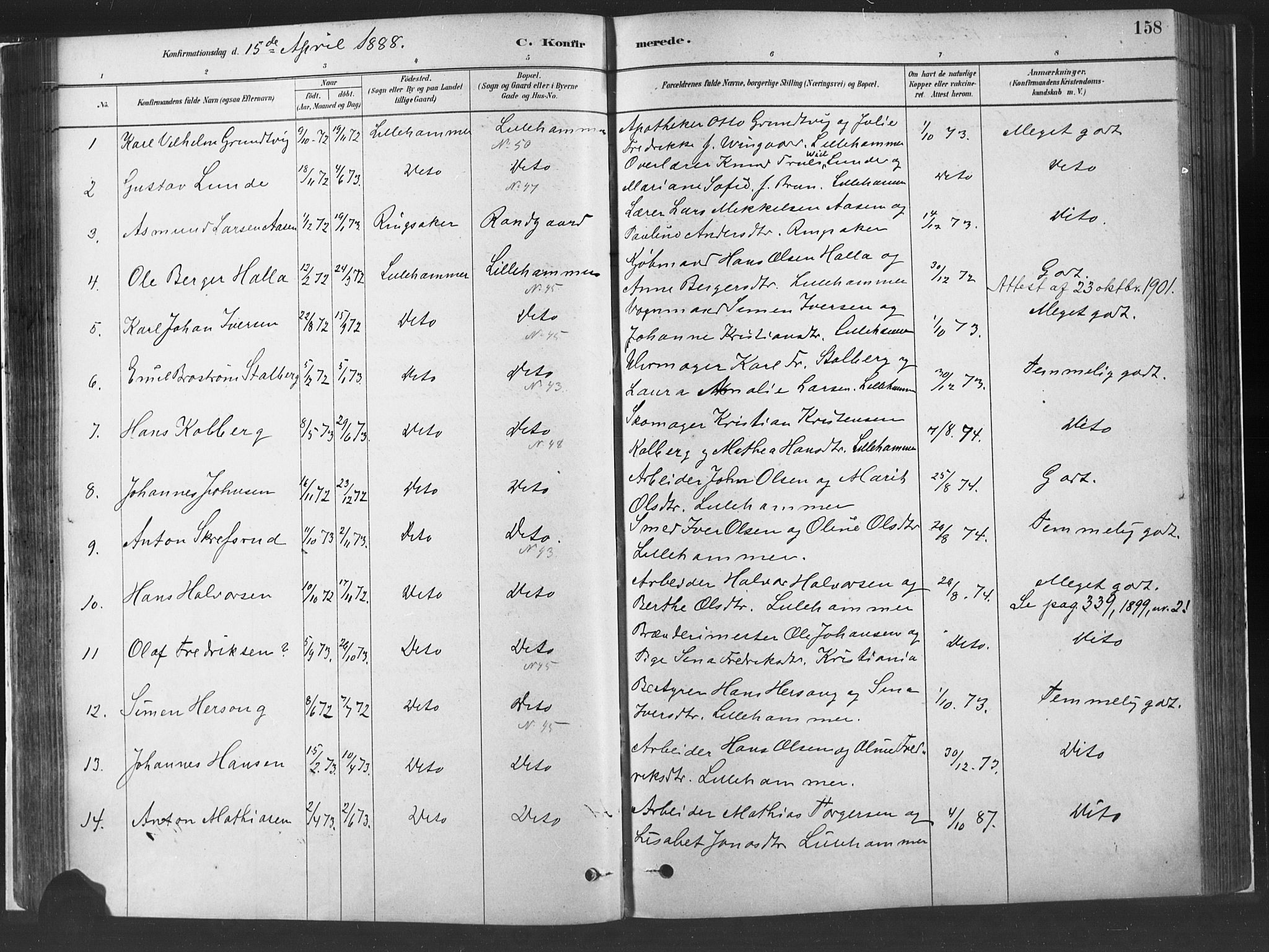 SAH, Fåberg prestekontor, H/Ha/Haa/L0010: Parish register (official) no. 10, 1879-1900, p. 158