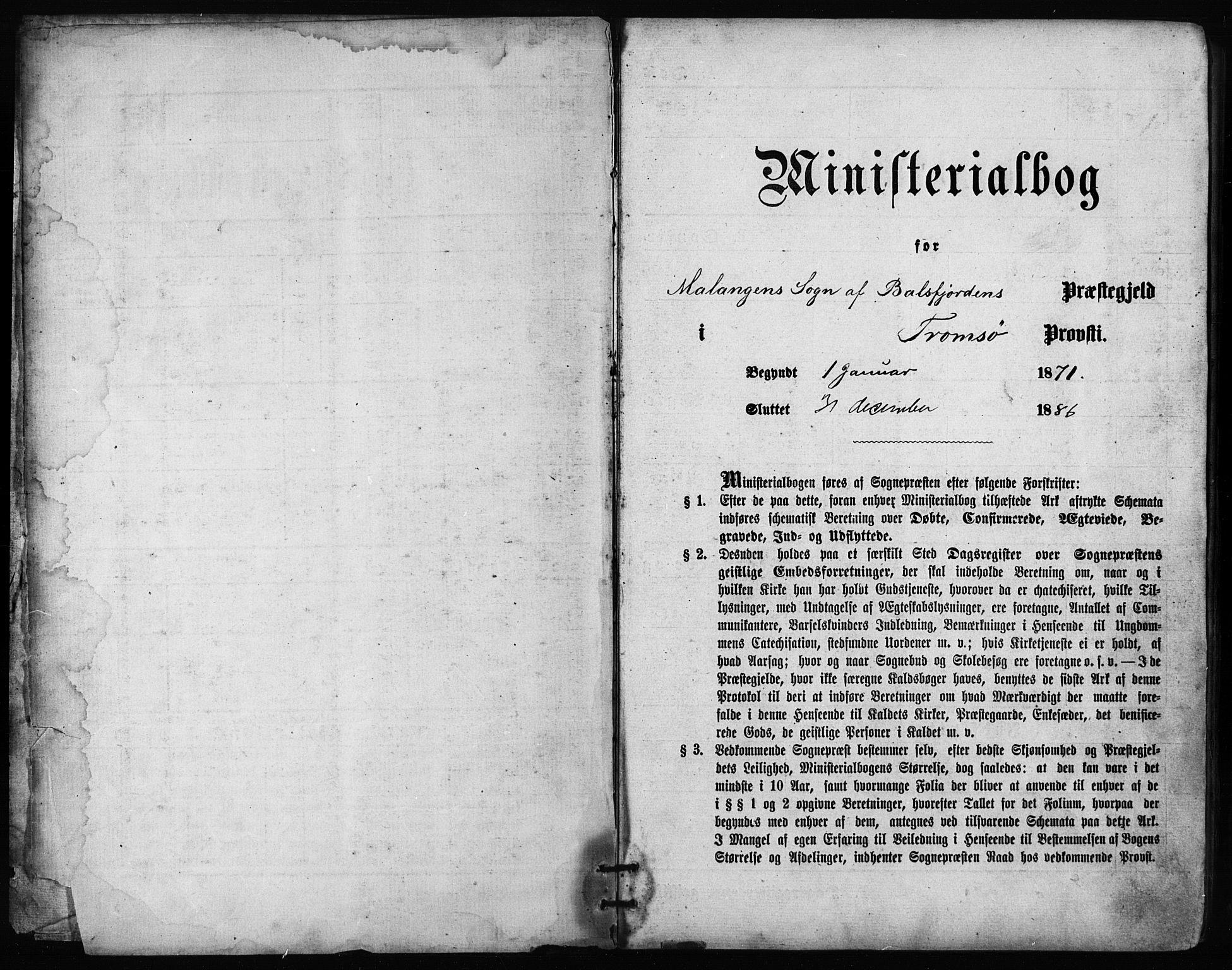 SATØ, Balsfjord sokneprestembete, Parish register (official) no. 2, 1871-1886