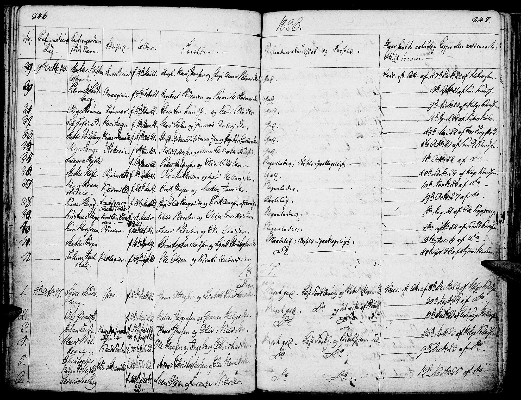 SAH, Løten prestekontor, K/Ka/L0006: Parish register (official) no. 6, 1832-1849, p. 346-347