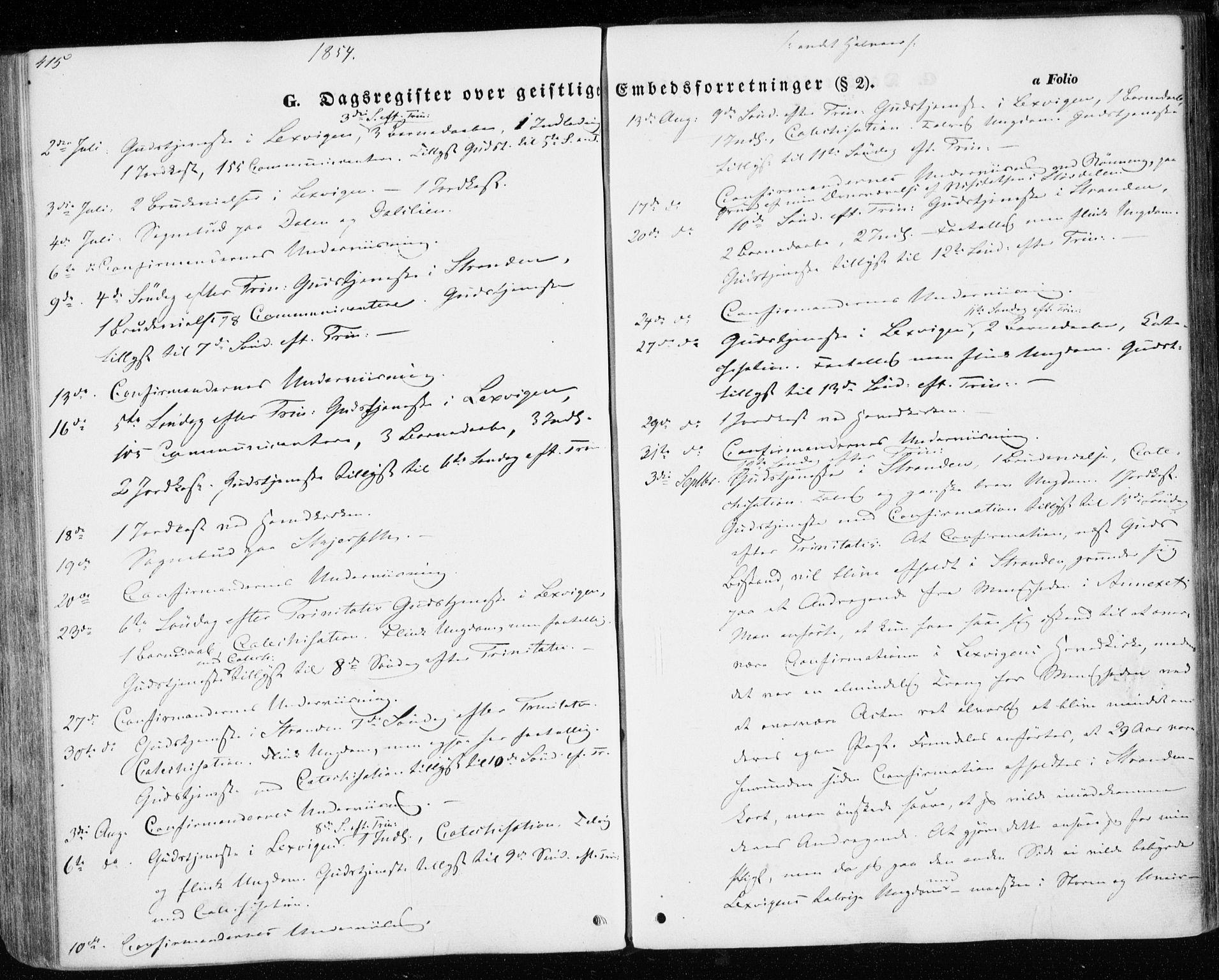 SAT, Ministerialprotokoller, klokkerbøker og fødselsregistre - Nord-Trøndelag, 701/L0008: Parish register (official) no. 701A08 /1, 1854-1863, p. 415