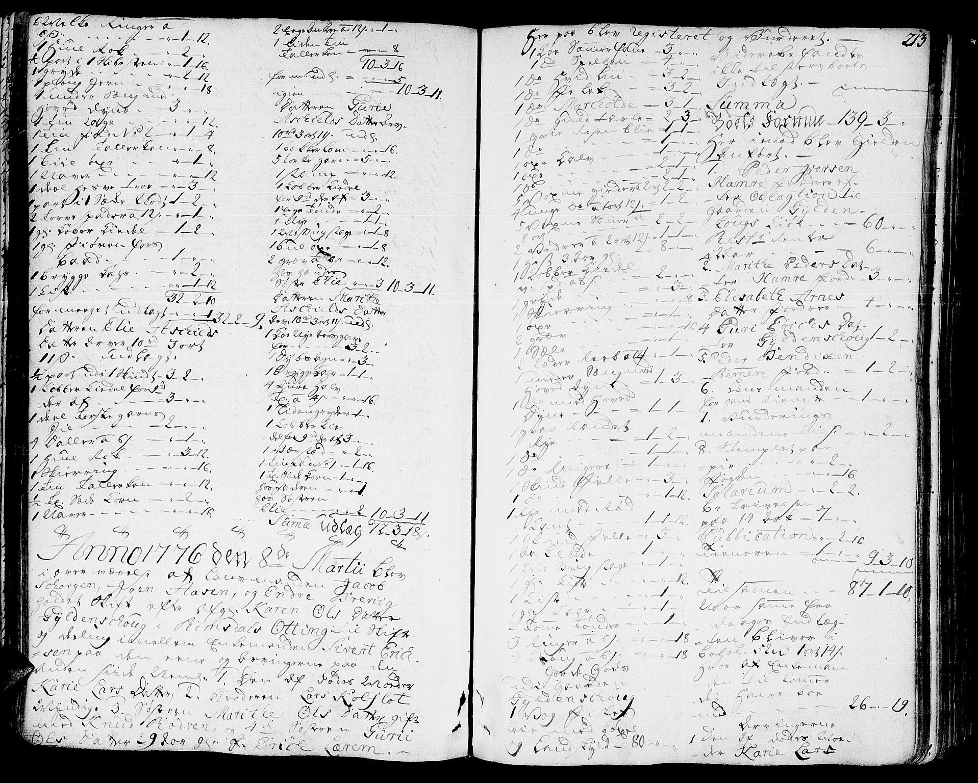 SAT, Romsdal sorenskriveri, 3/3A/L0010: Skifteprotokoll, 1774-1782, p. 212b-213a