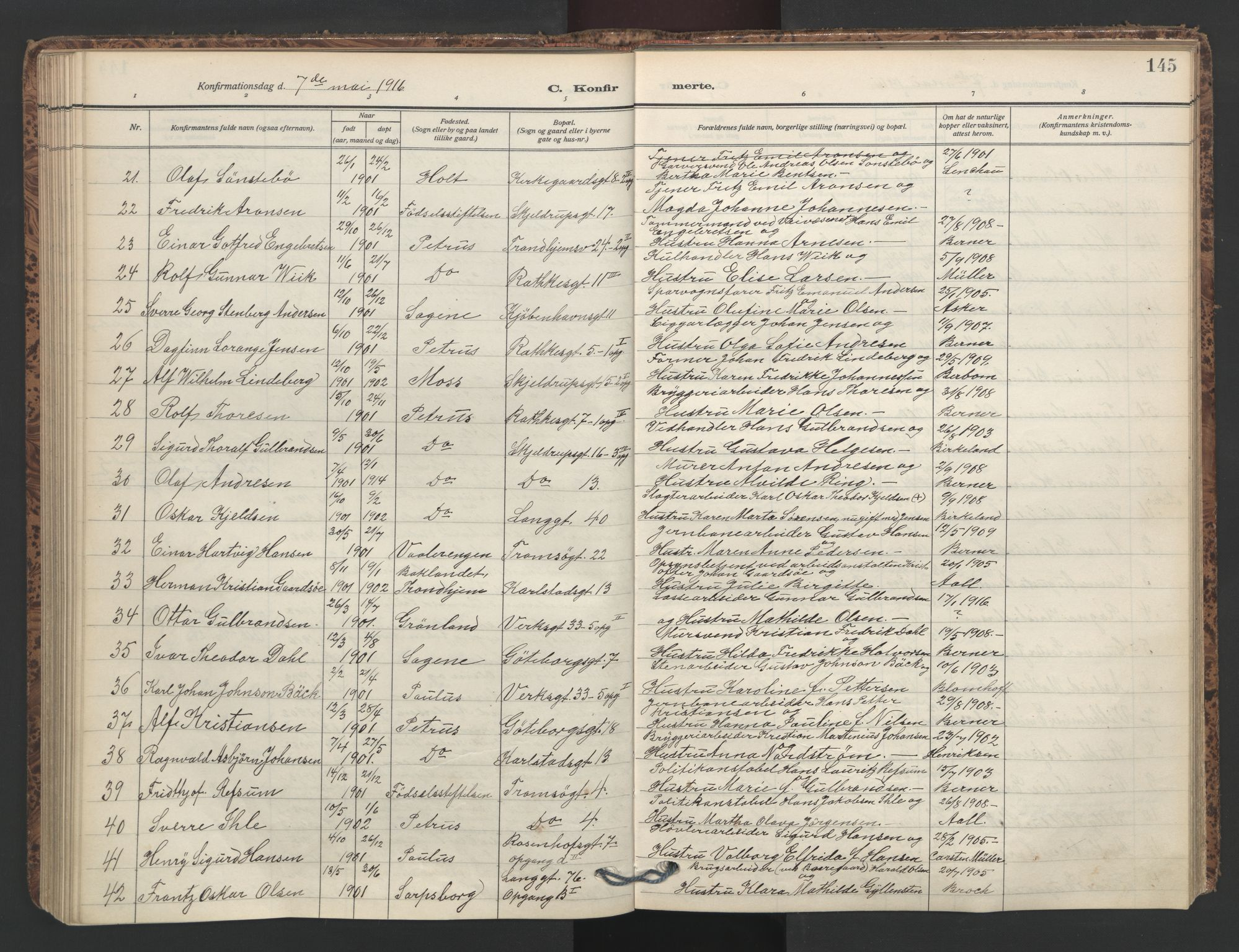 SAO, Petrus prestekontor Kirkebøker, F/Fa/L0011: Parish register (official) no. 11, 1908-1922, p. 145