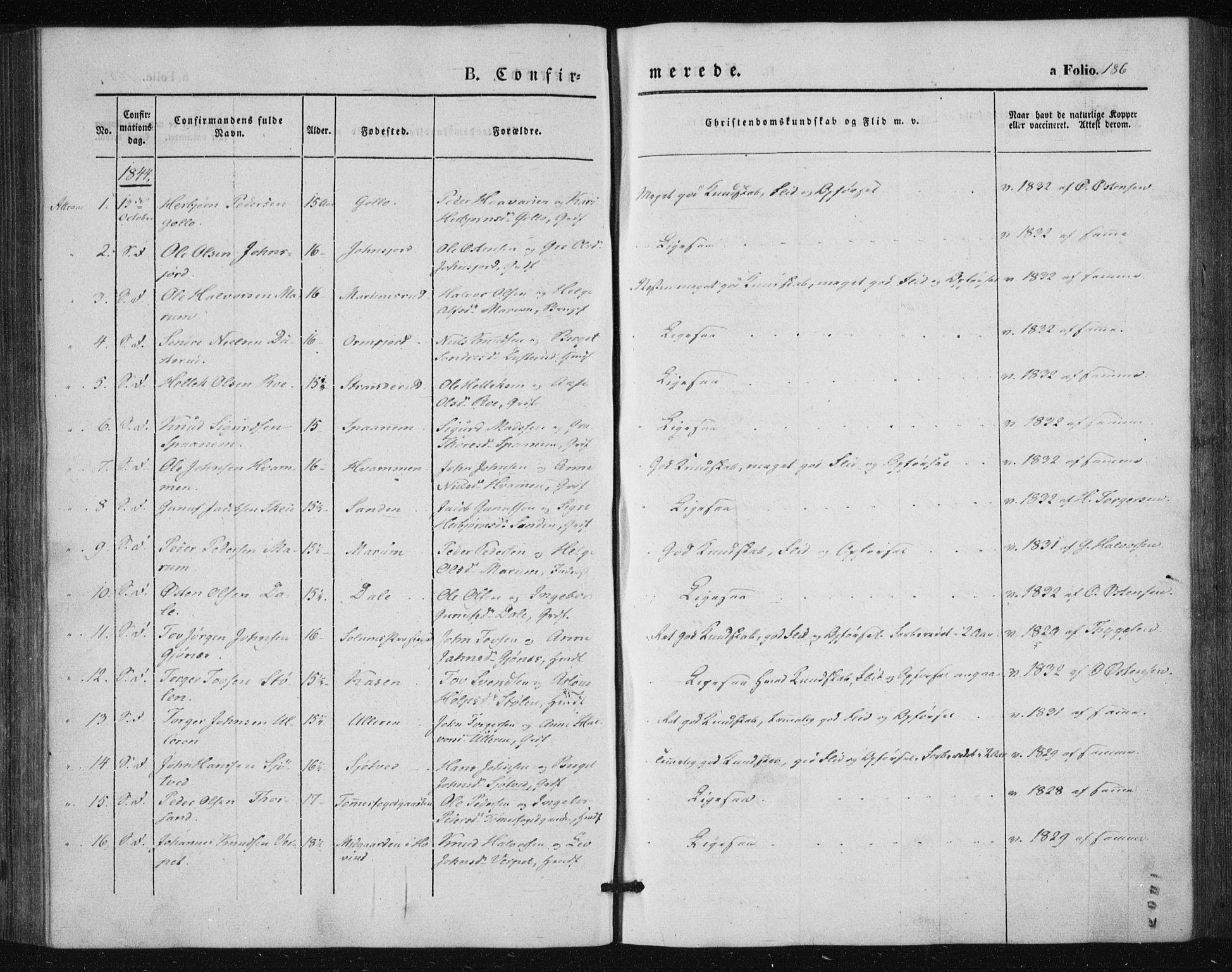 SAKO, Tinn kirkebøker, F/Fa/L0005: Parish register (official) no. I 5, 1844-1856, p. 186