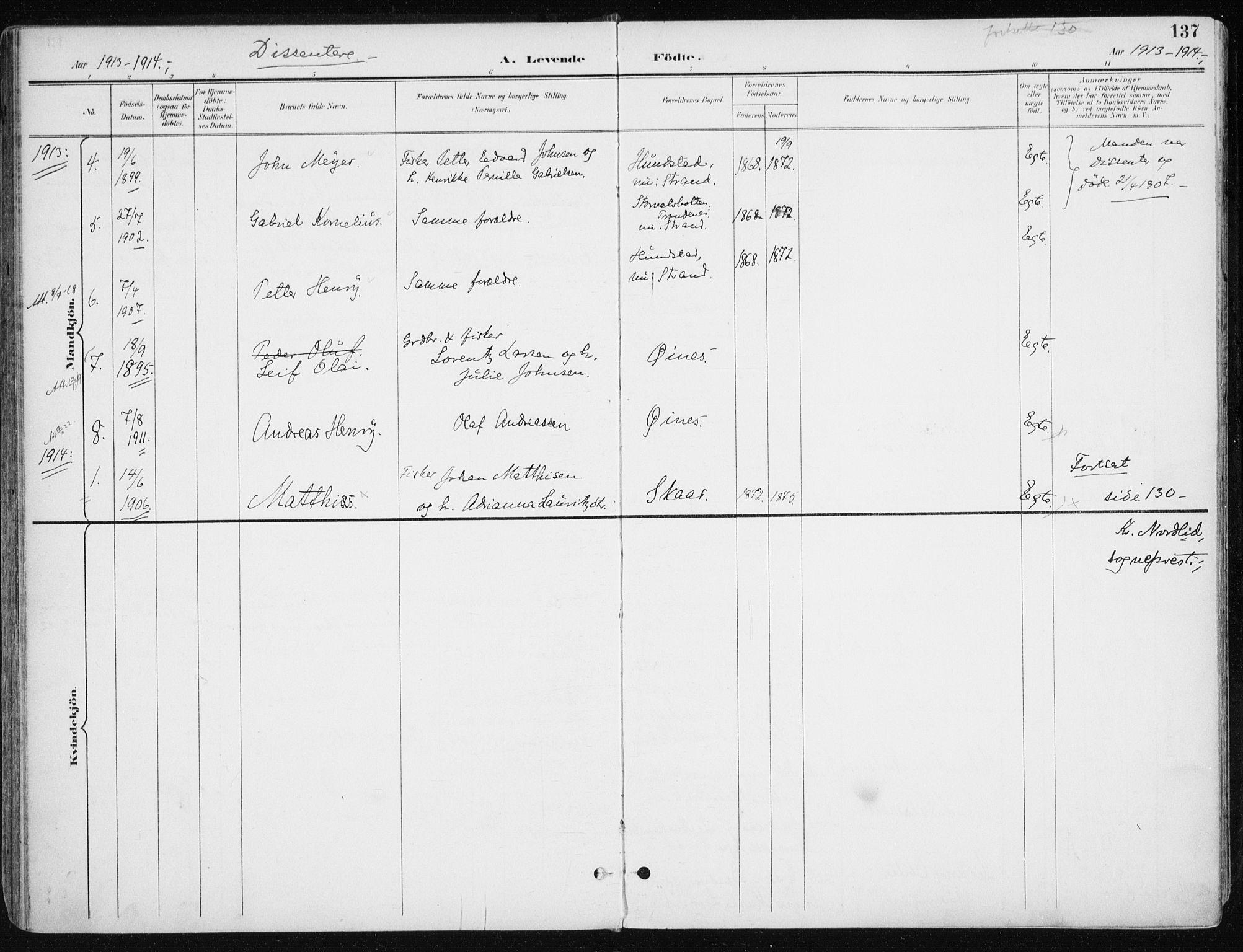 SATØ, Kvæfjord sokneprestkontor, G/Ga/Gaa/L0006kirke: Parish register (official) no. 6, 1895-1914, p. 137