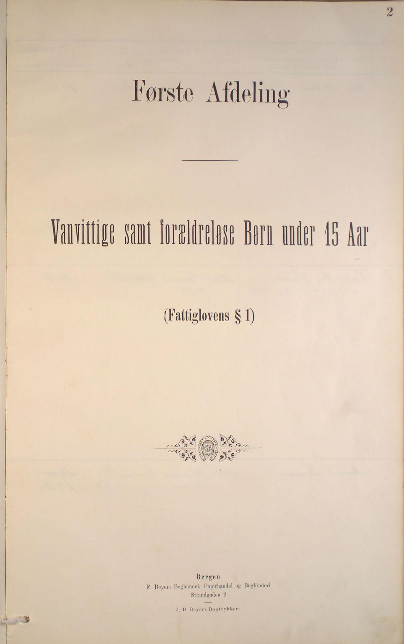 BBA, Bergen fattigvesen, 1886-1891, p. 2