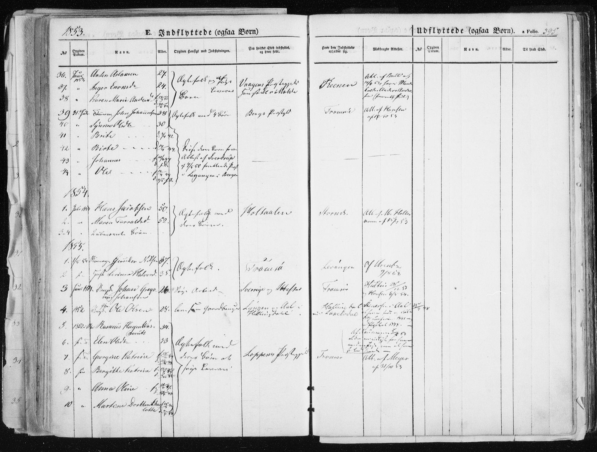 SATØ, Tromsø sokneprestkontor/stiftsprosti/domprosti, G/Ga/L0010kirke: Parish register (official) no. 10, 1848-1855, p. 395