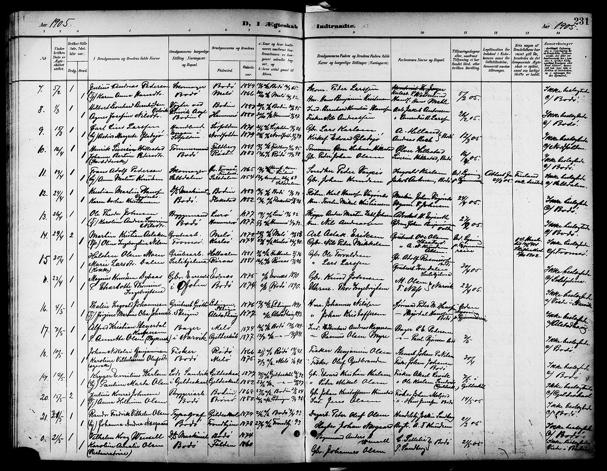 SAT, Ministerialprotokoller, klokkerbøker og fødselsregistre - Nordland, 801/L0033: Parish register (copy) no. 801C08, 1898-1910, p. 231