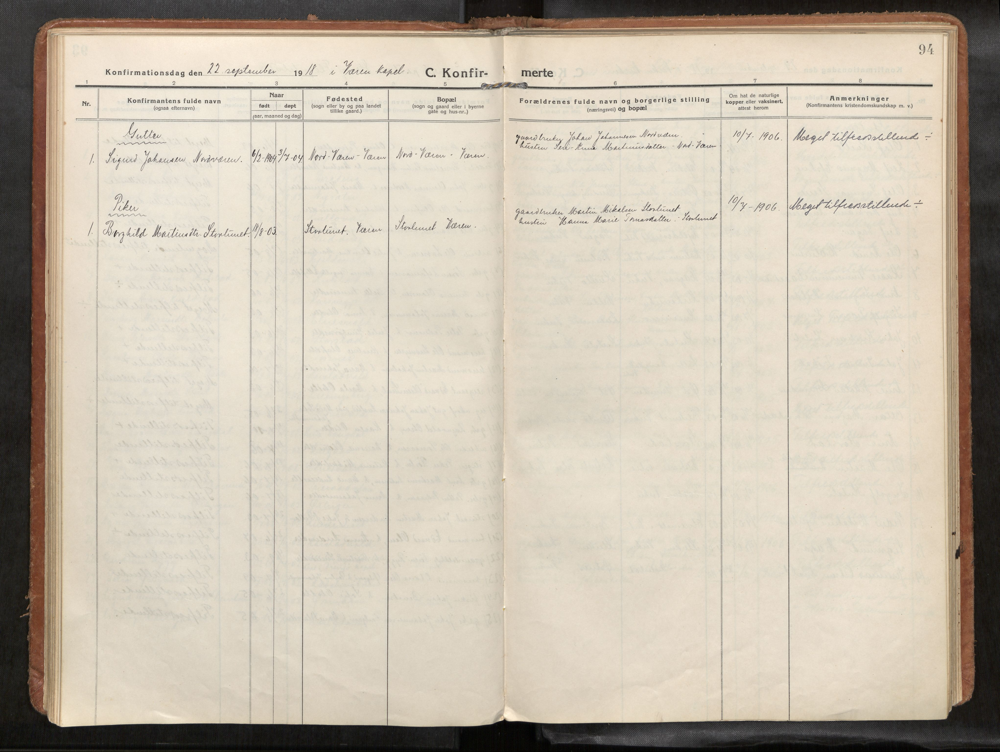 SAT, Verdal sokneprestkontor*, Parish register (official) no. 1, 1916-1928, p. 94